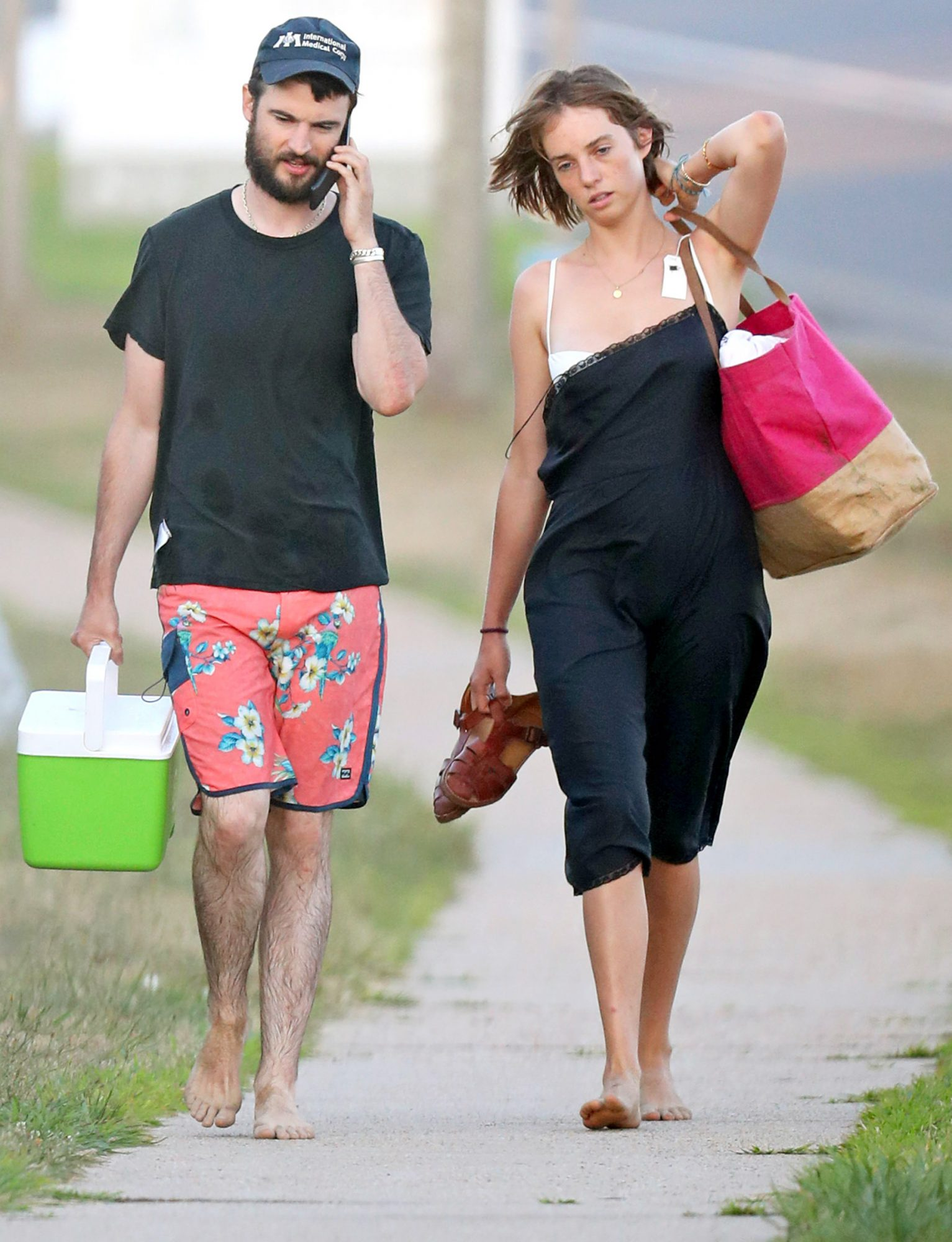 Tom Sturridge is Spotted Leaving The Beach with Maya Hawke in The Hamptons.