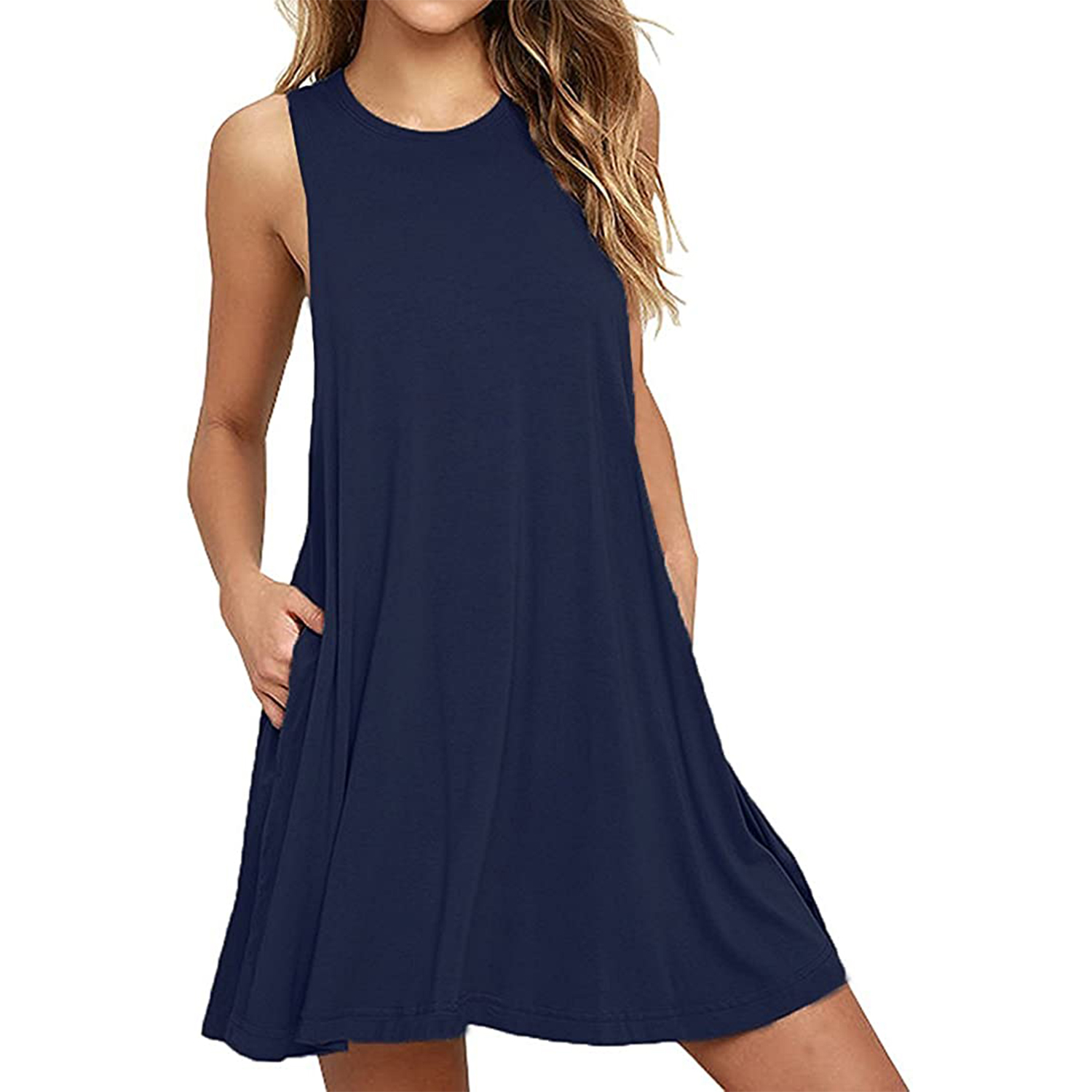Summer Casual Swing T-Shirt Dresses Beach Cover up with Pockets