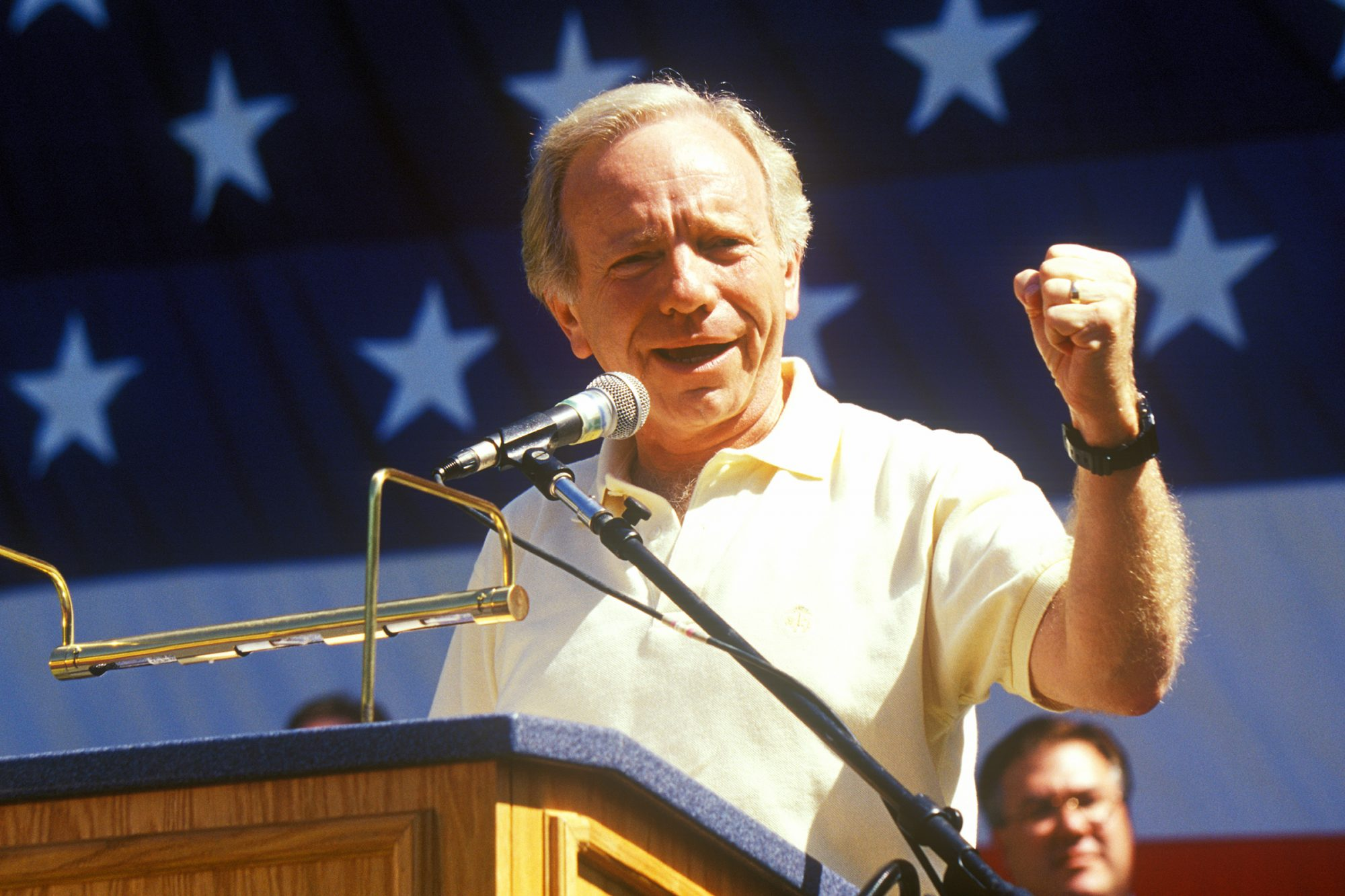 Senator Joe Lieberman campaigns for vice president during a rally at California State University at Fresno