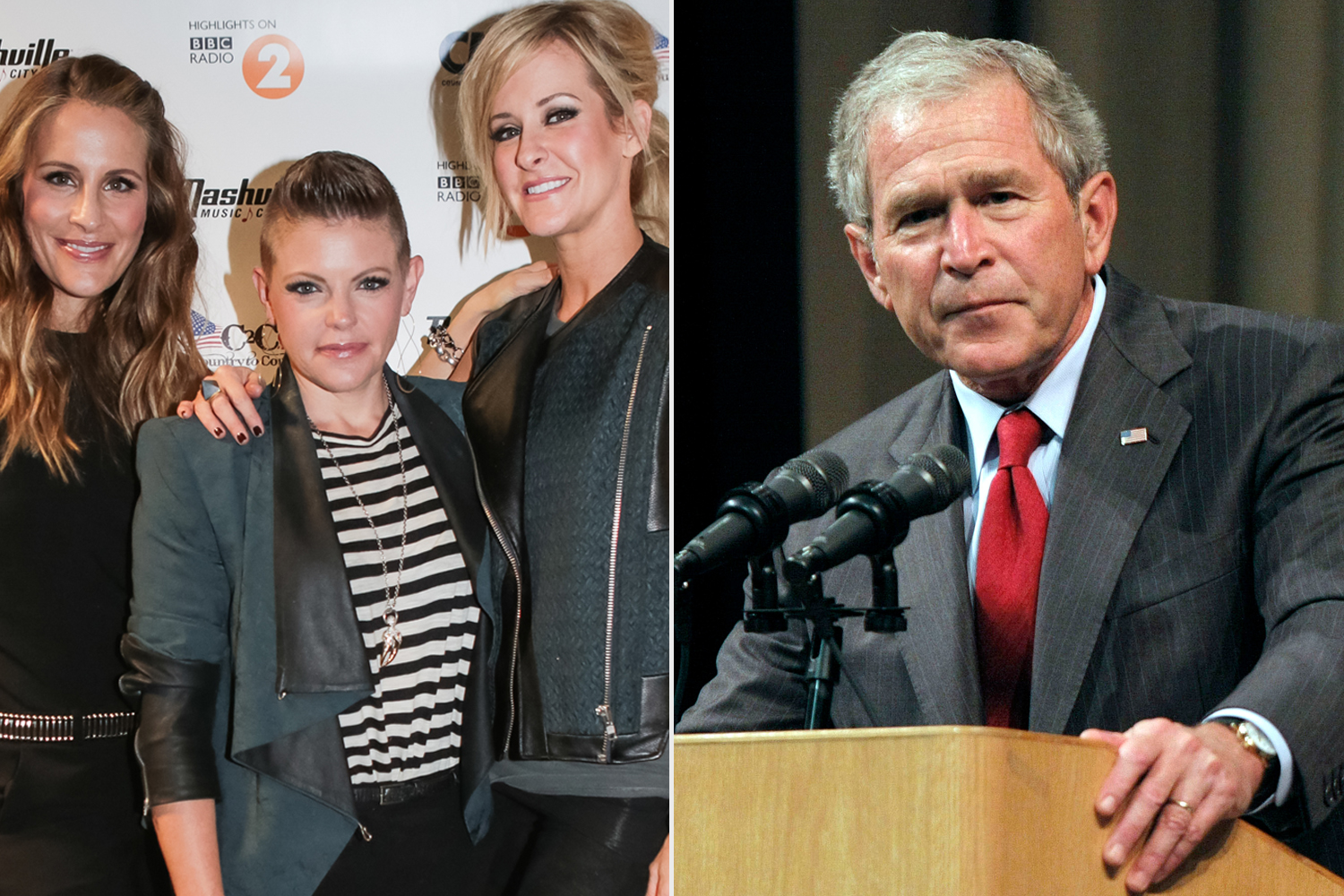 Martie Maguire, Natalie Maines and Emily Robison of Dixie Chicks; George W. Bush