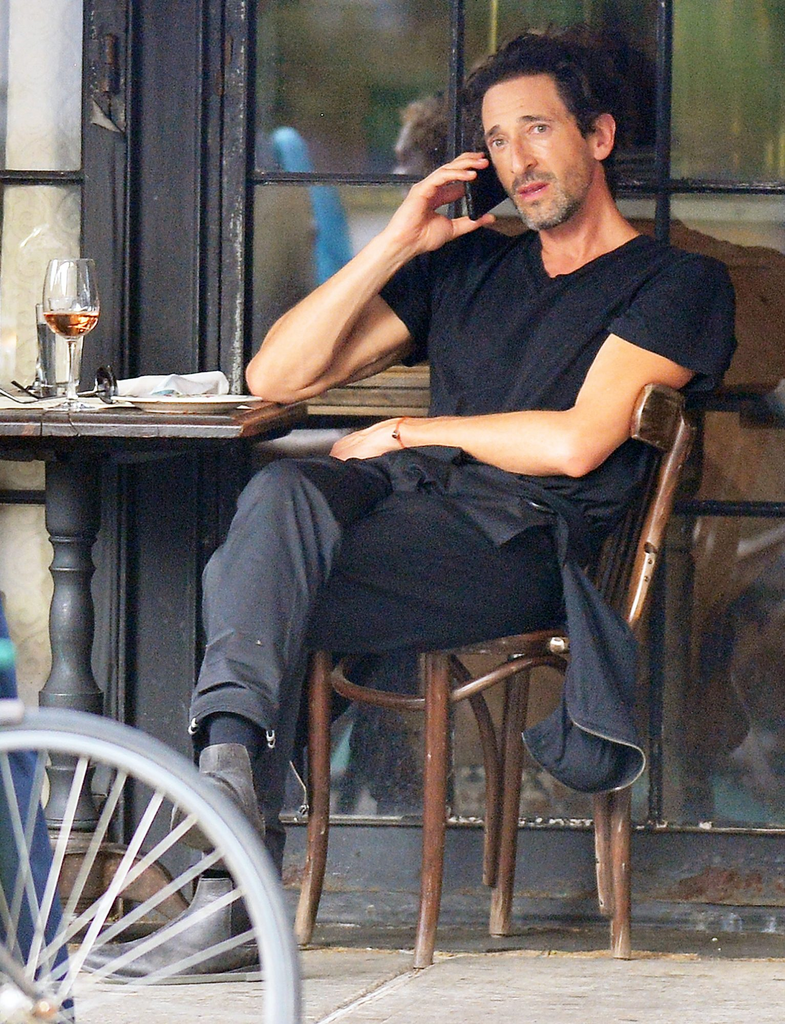 Adrien Brody is Pictured Heading Out for Lunch at Gemma Restaurant in New York City.