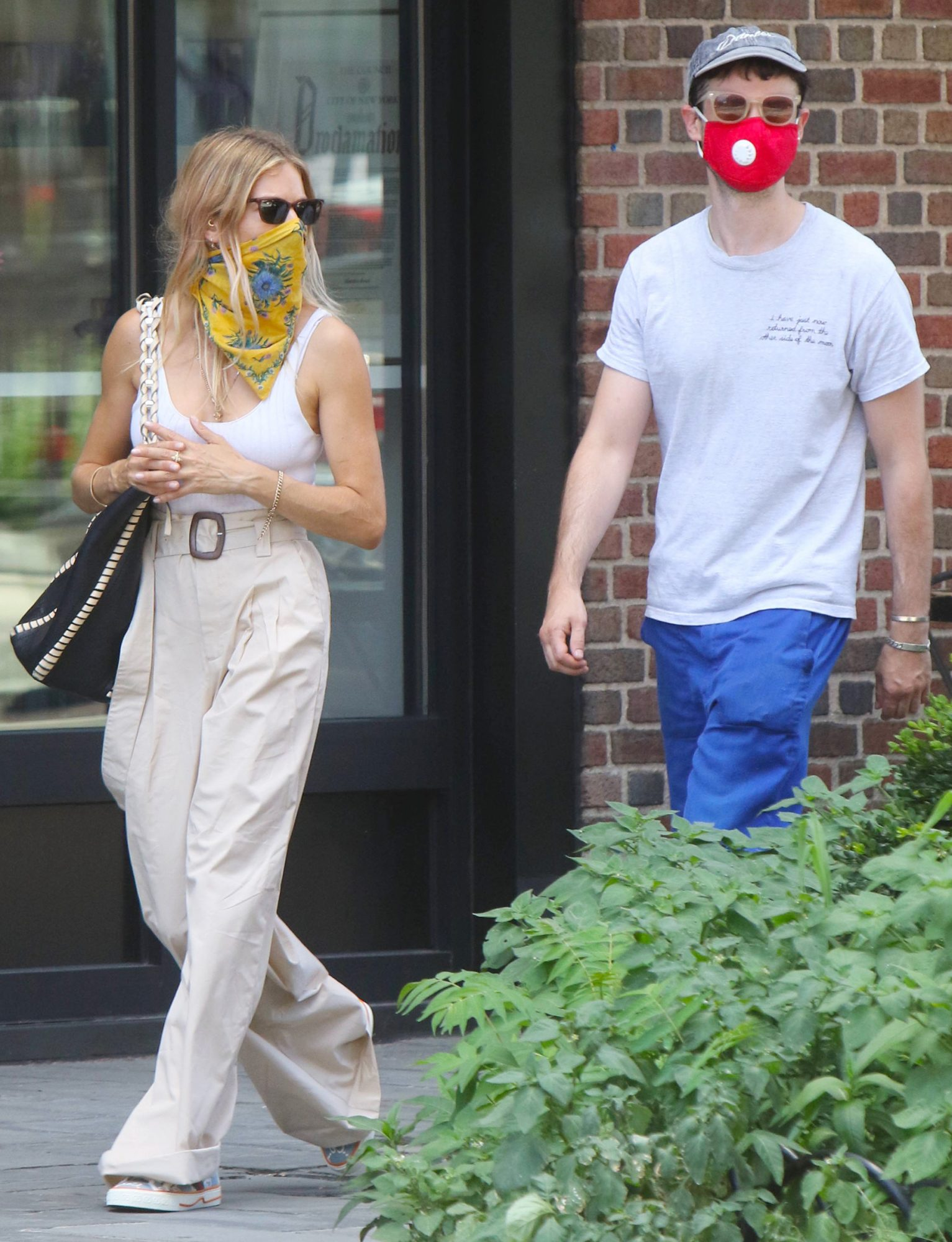 Sienna Miller and Tom Sturridge are seen on July 28, 2020 in New York City