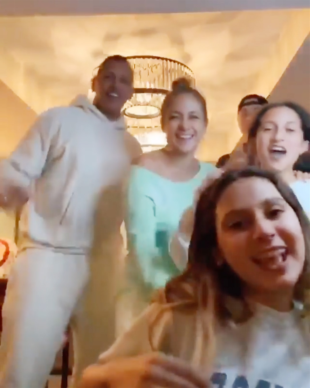 J.Lo and A-Rod dance with their kids to throwback songs