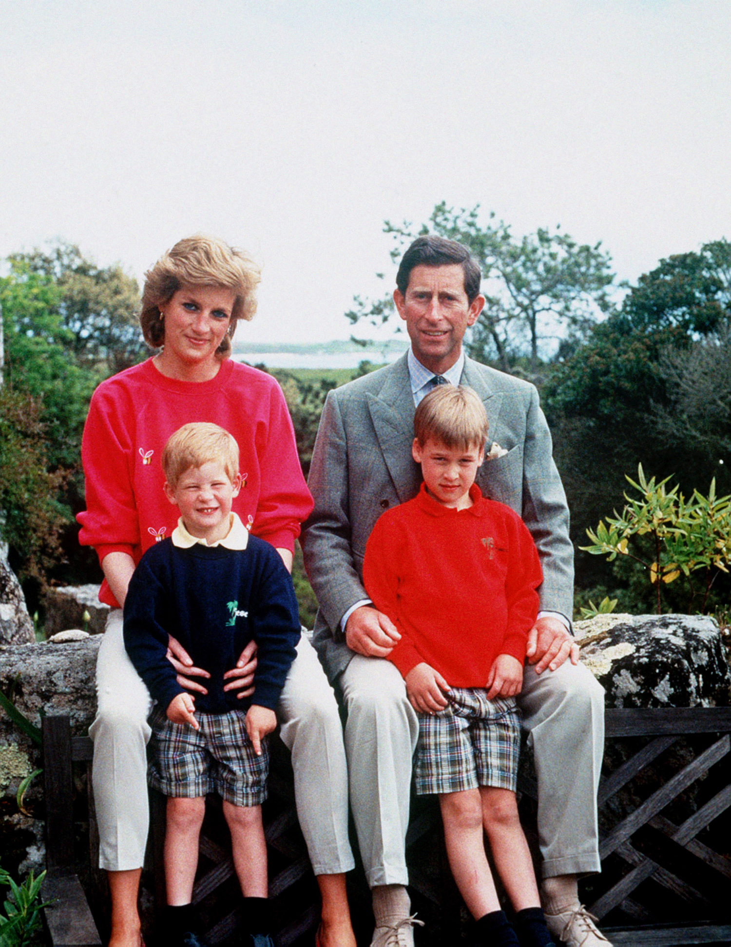 The Prince and Princess of Wales with sons Prince William, right, and Prince Harry