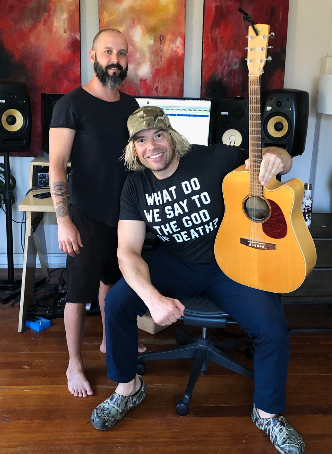 """Behind the scenes with Hollywood Physique Expert Eric the Trainer & music producer Wolves as they work on Maine Monster's (Eric's new rock group with celeb pals from Def Leppard, Journey, Nickelback, Hall & Oates) original single """"I'm Yours"""" with proceeds going to Feeding America."""
