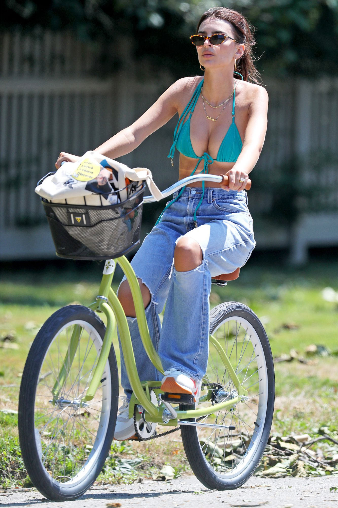 Emily Ratajkowski Rides Her Bike to The Beach in The Hamptons