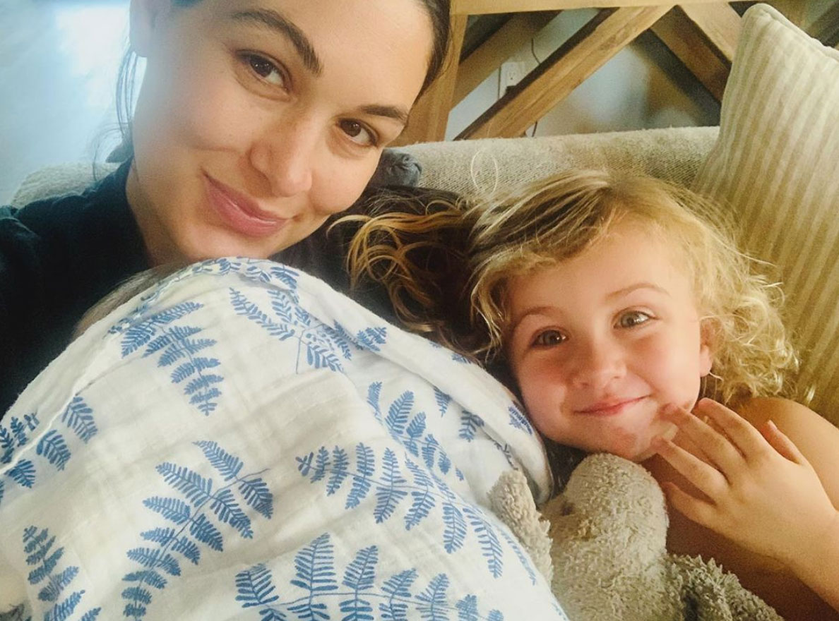 Brie Bella with her children