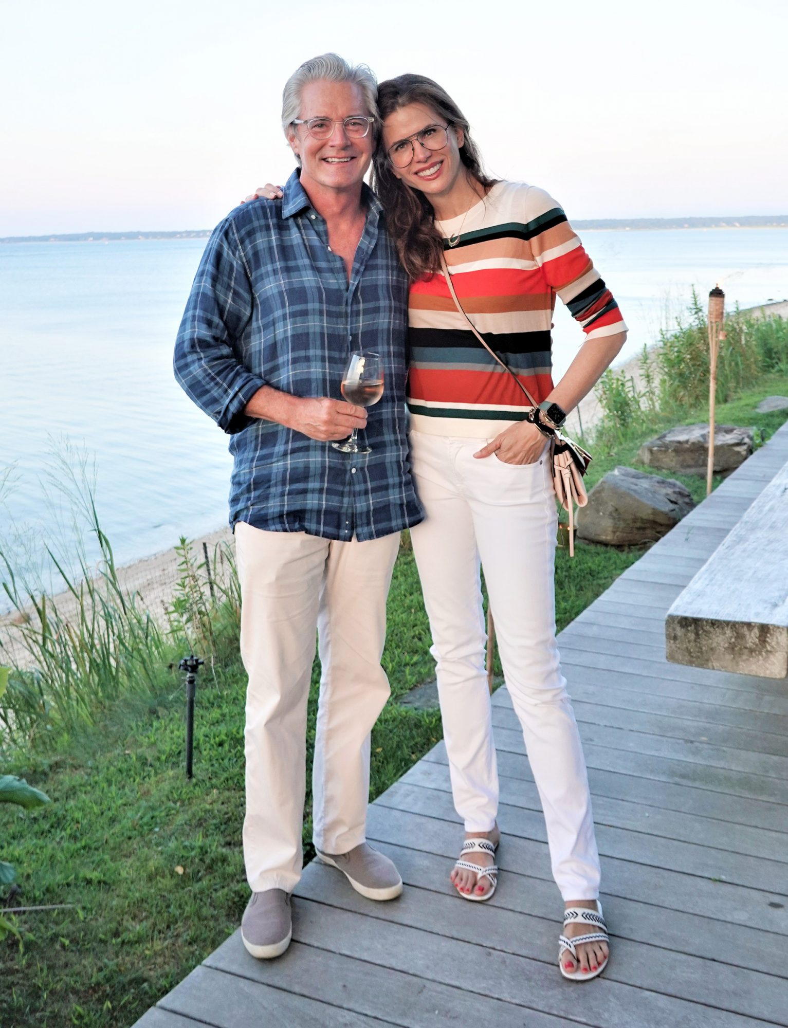 """Kyle MacLachlan with wife Desiree Gruber at a private screening of IFC Films' """"Tesla"""" in East Hampton on August 10, 2020."""
