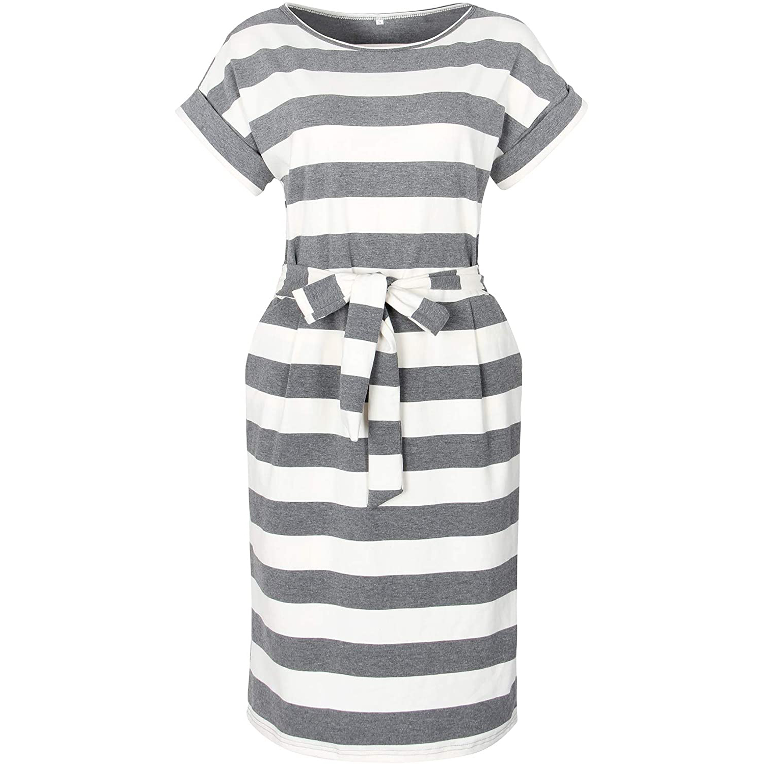 Striped Elegant Short Sleeve Wear to Work Casual Pencil Dress with Belt