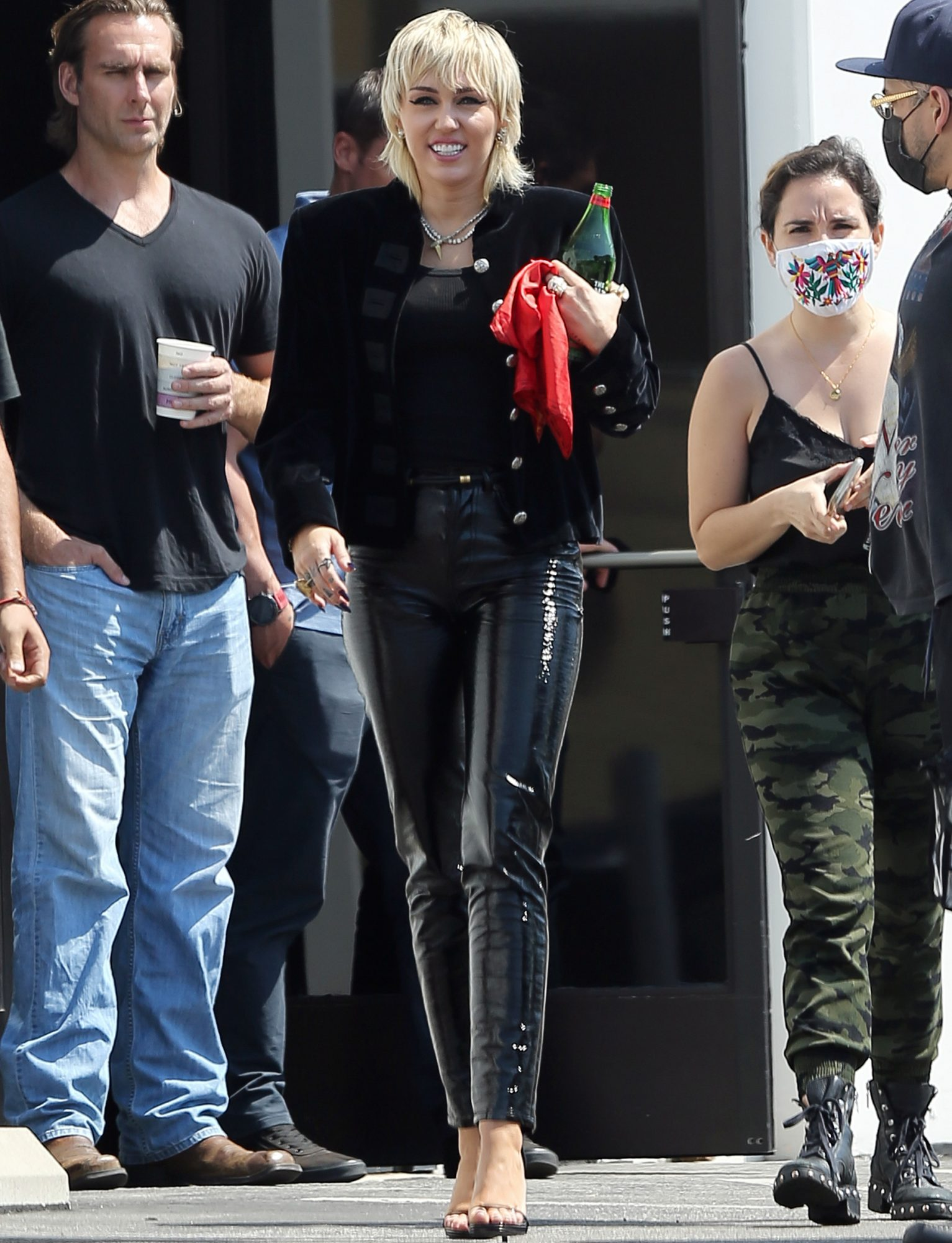Miley Cyrus Is All Smiles As She Steps Out In Los Angeles Looking Red Hot In Shiny Disco Pants