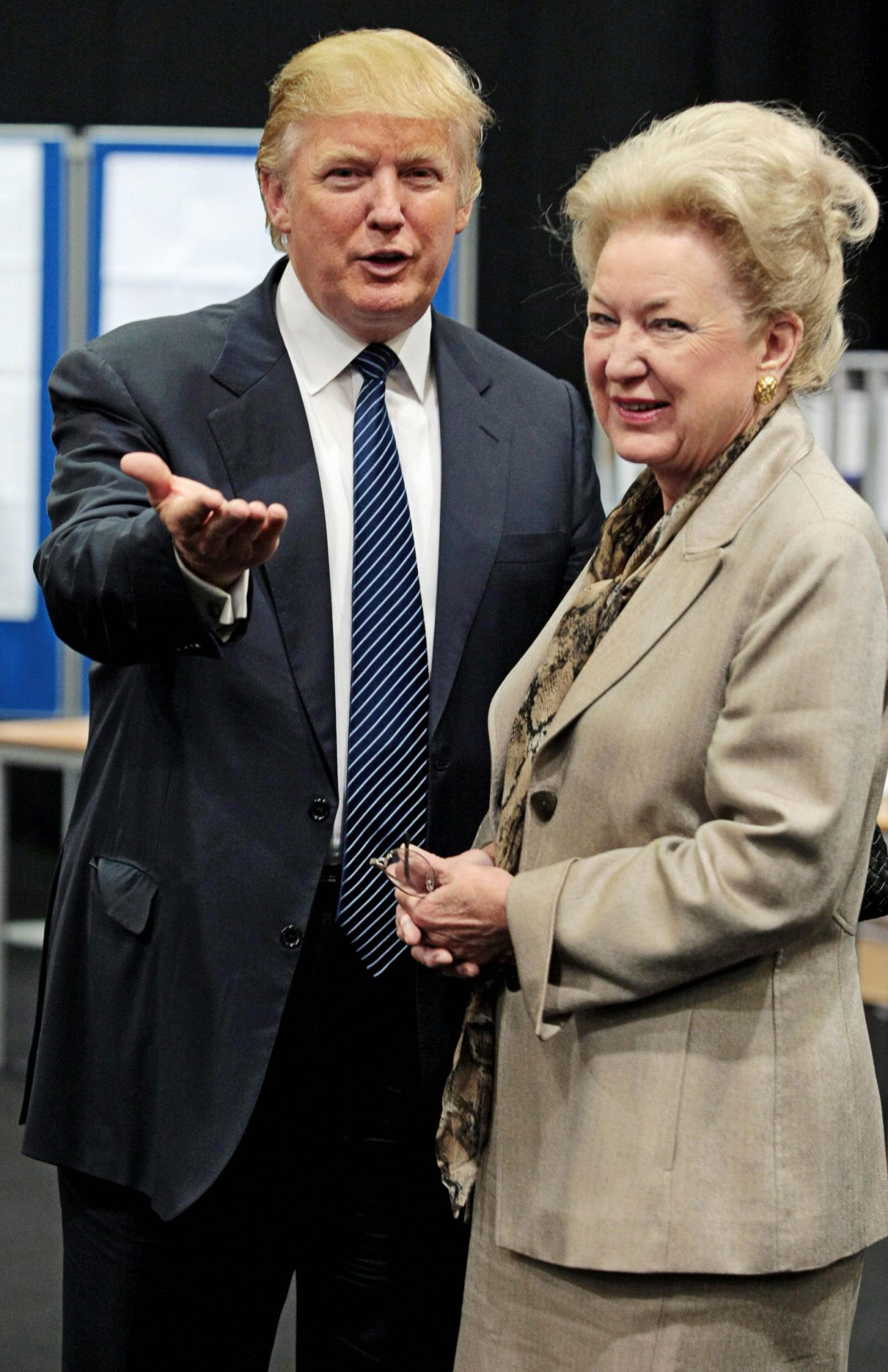 Donald Trump (L) is pictured with his sister Maryanne Trump