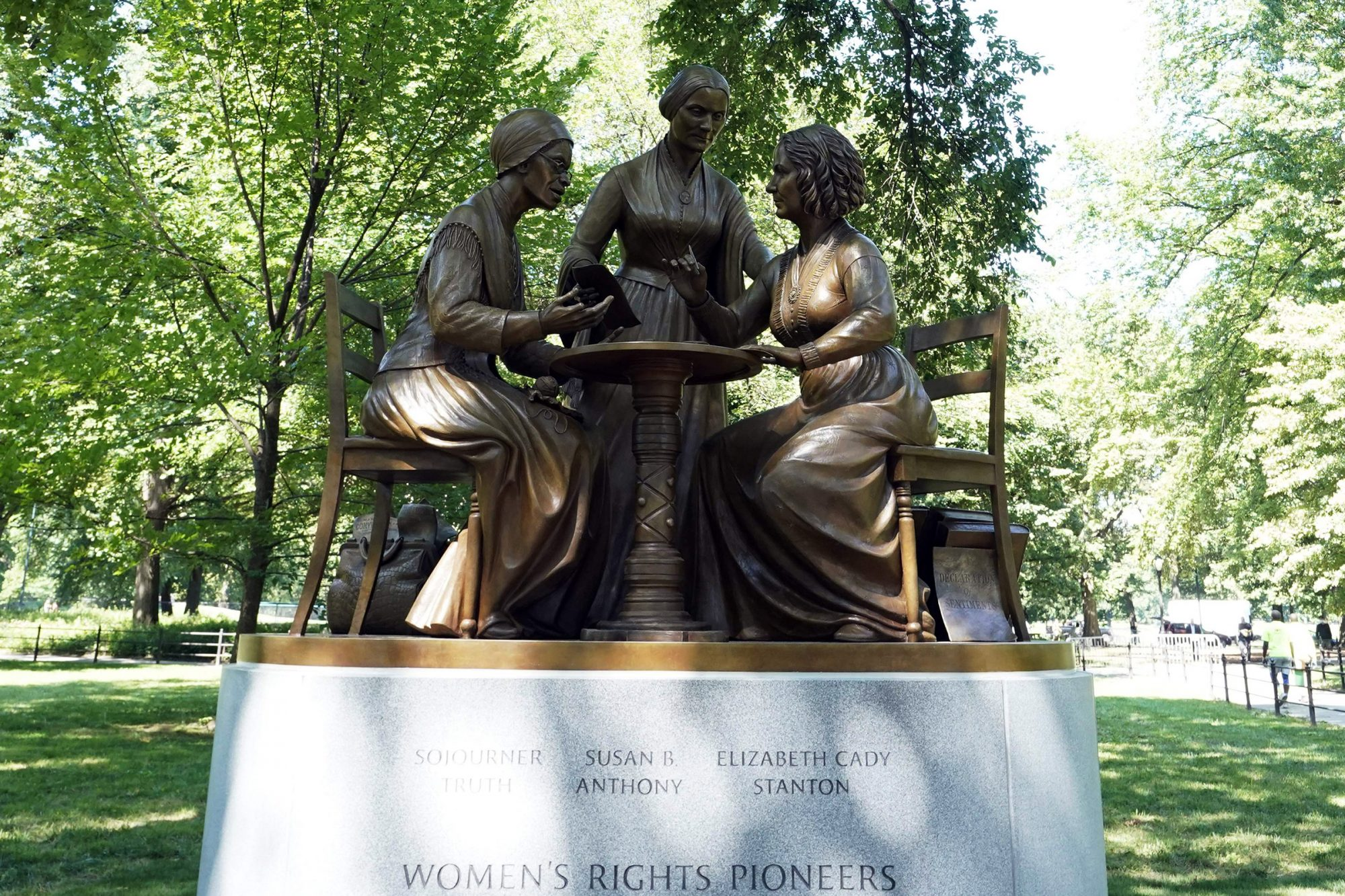 The unveiling of the statue of women's rights pioneers Susan B. Anthony, Elizabeth Cady Stanton and Sojourner Truth is seen in Central Park in New York on August 26, 2020