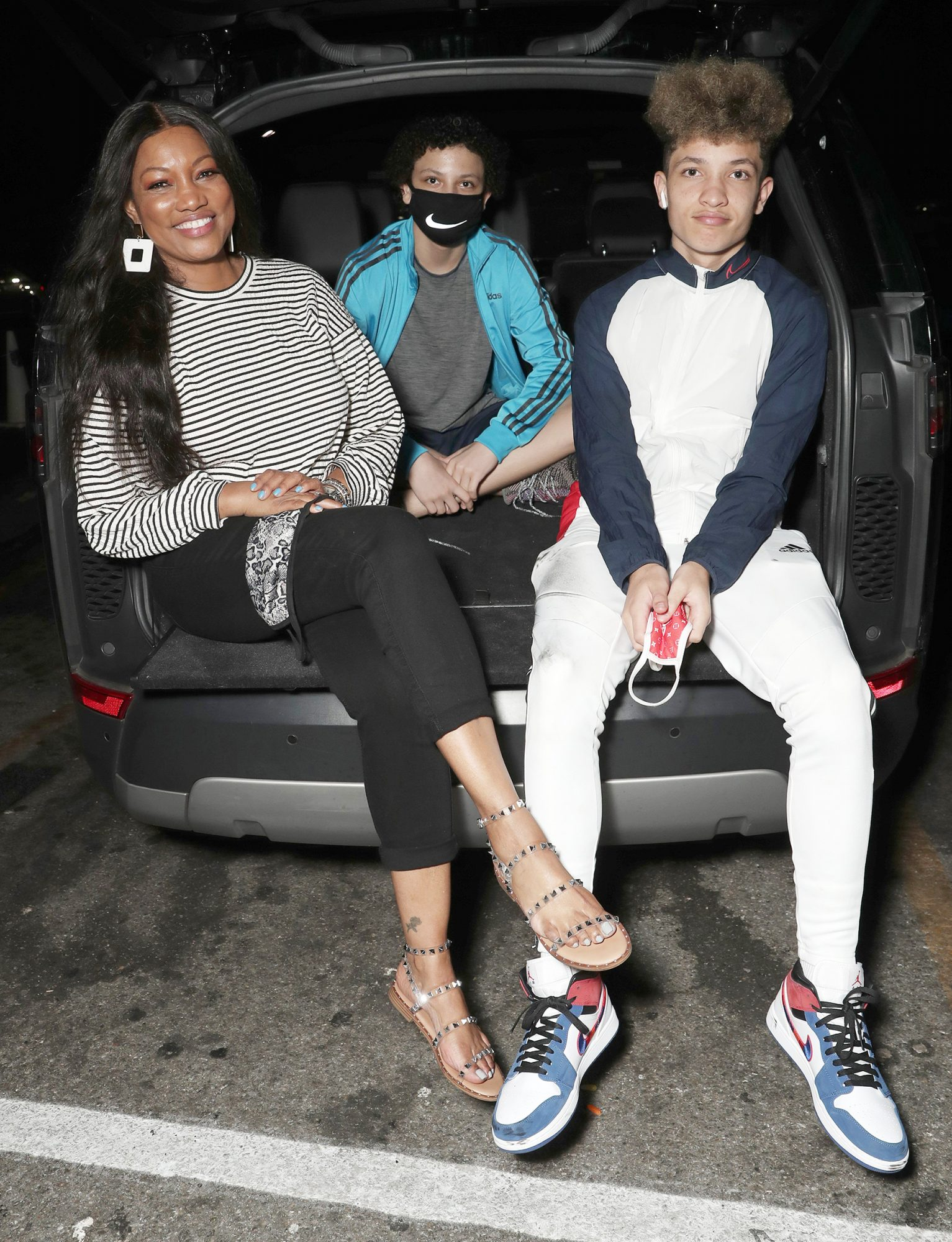 """Garcelle Beauvais with sons Jaid Thomas Nilon and Jax Joseph Nilon at """"A Night at the Drive-in"""" Closing Night presents by Amazon Studios and Outlier Society on Wednesday, August 26th"""