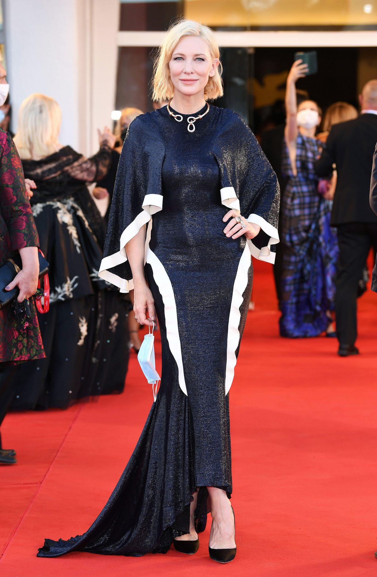 """Cate Blanchett walks the red carpet ahead of the Opening Ceremony and the """"Lacci"""" red carpet during the 77th Venice Film Festival at on September 02, 2020 in Venice, Italy."""