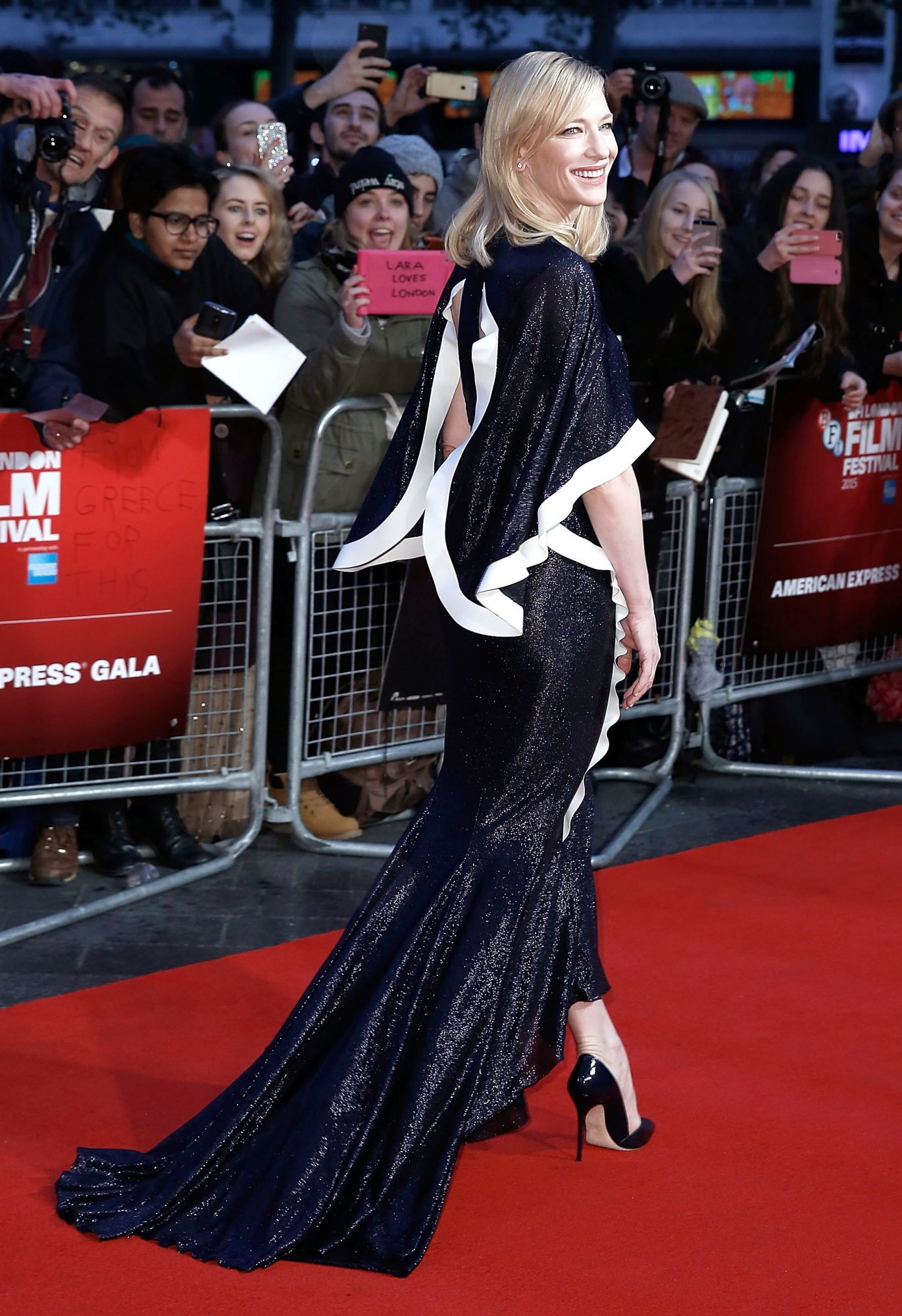 """Cate Blanchett attends the """"Carol"""" America Express Gala during the BFI London Film Festival, at the Odeon Leicester Square on October 14, 2015 in London, England."""