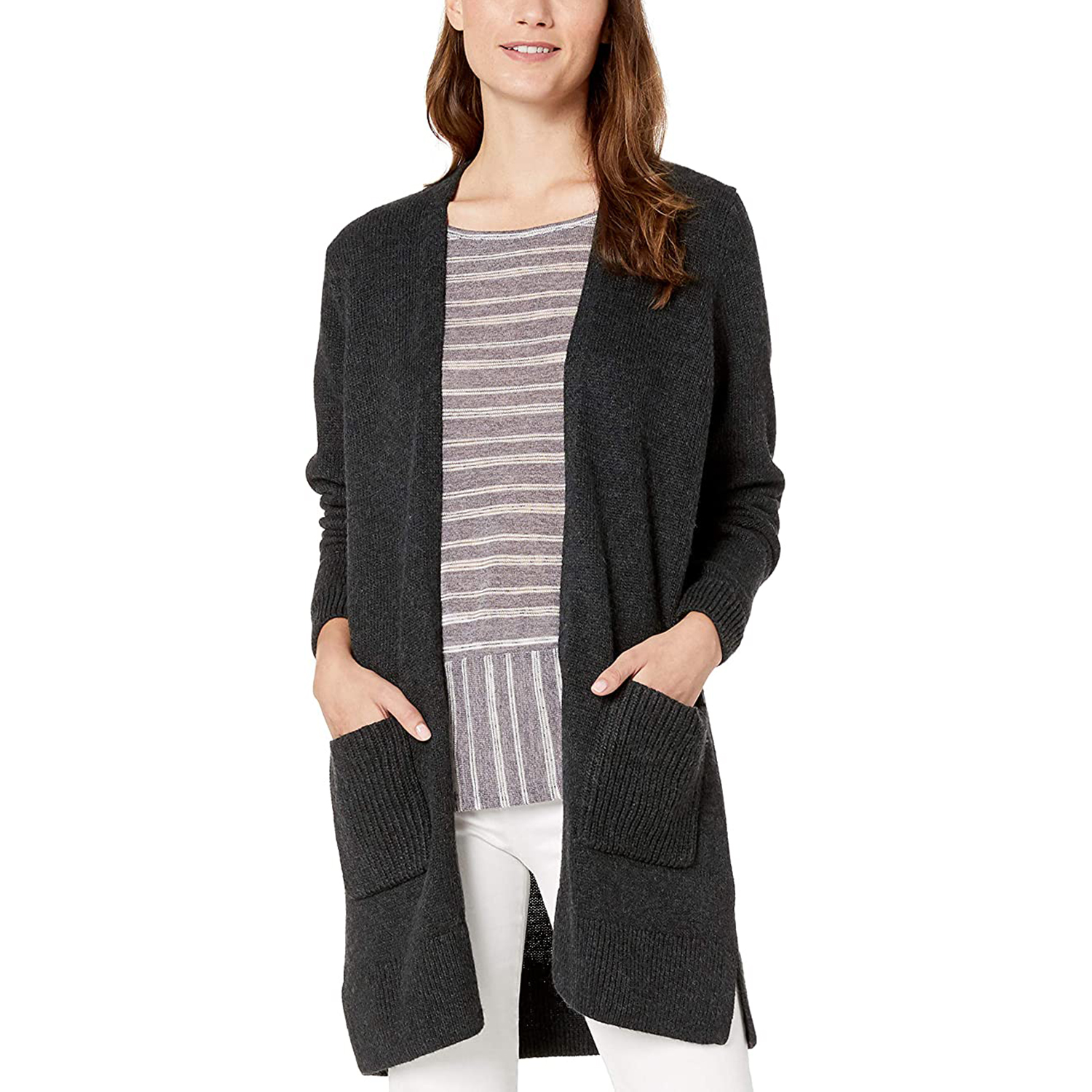 Amazon Essentials Women's Long-Sleeve Jersey Stitch Open-Front Sweater