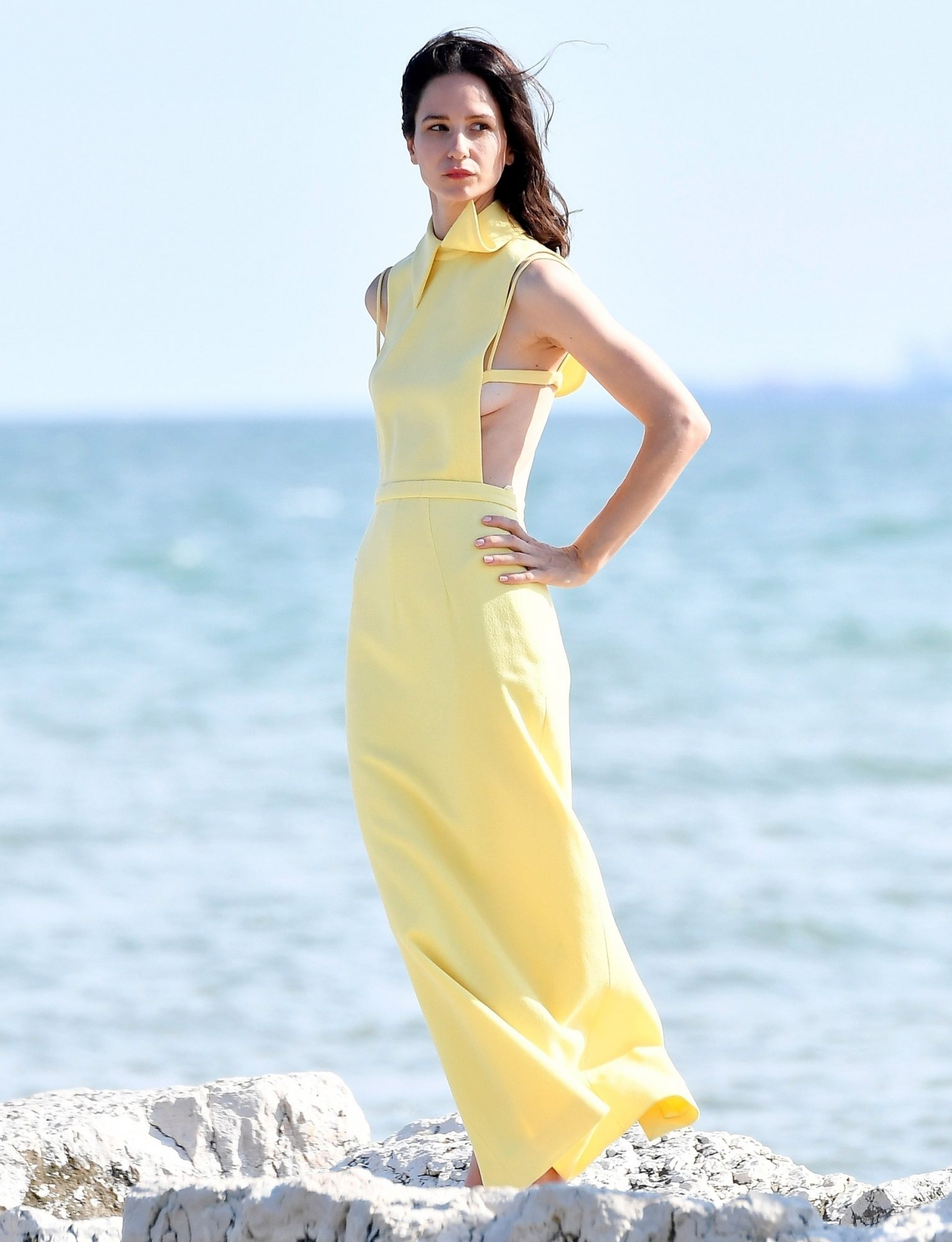Katherine Waterston spotted at the beach during a photo shoot