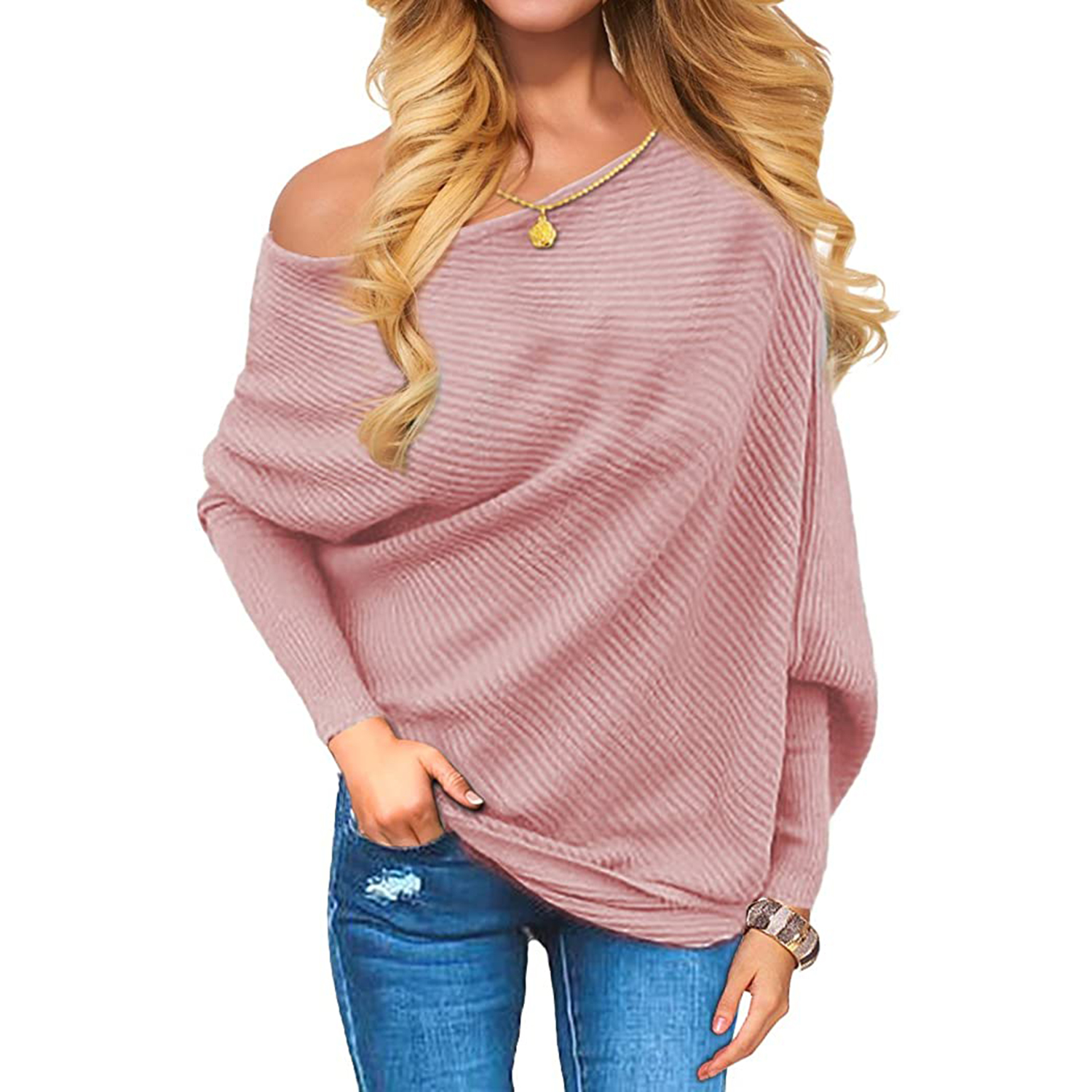 VOIANLIMO Women's Off Shoulder Knit Jumper Long Sleeve Pullover Baggy