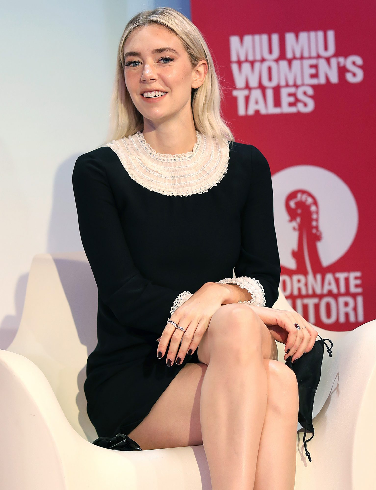 Vanessa Kirby attends the Miu Miu Women's Tales meeting during the 77th Venice Film Festival on September 08, 2020 in Venice