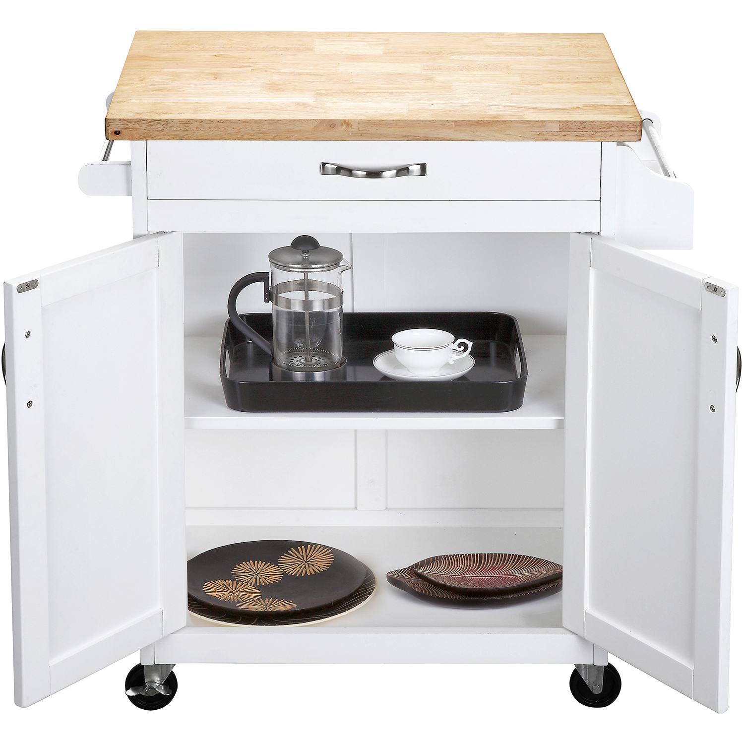 Mainstays Kitchen Island Cart with Drawer and Storage Shelves, White