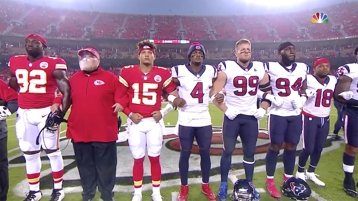 Chiefs Texans moment of unity