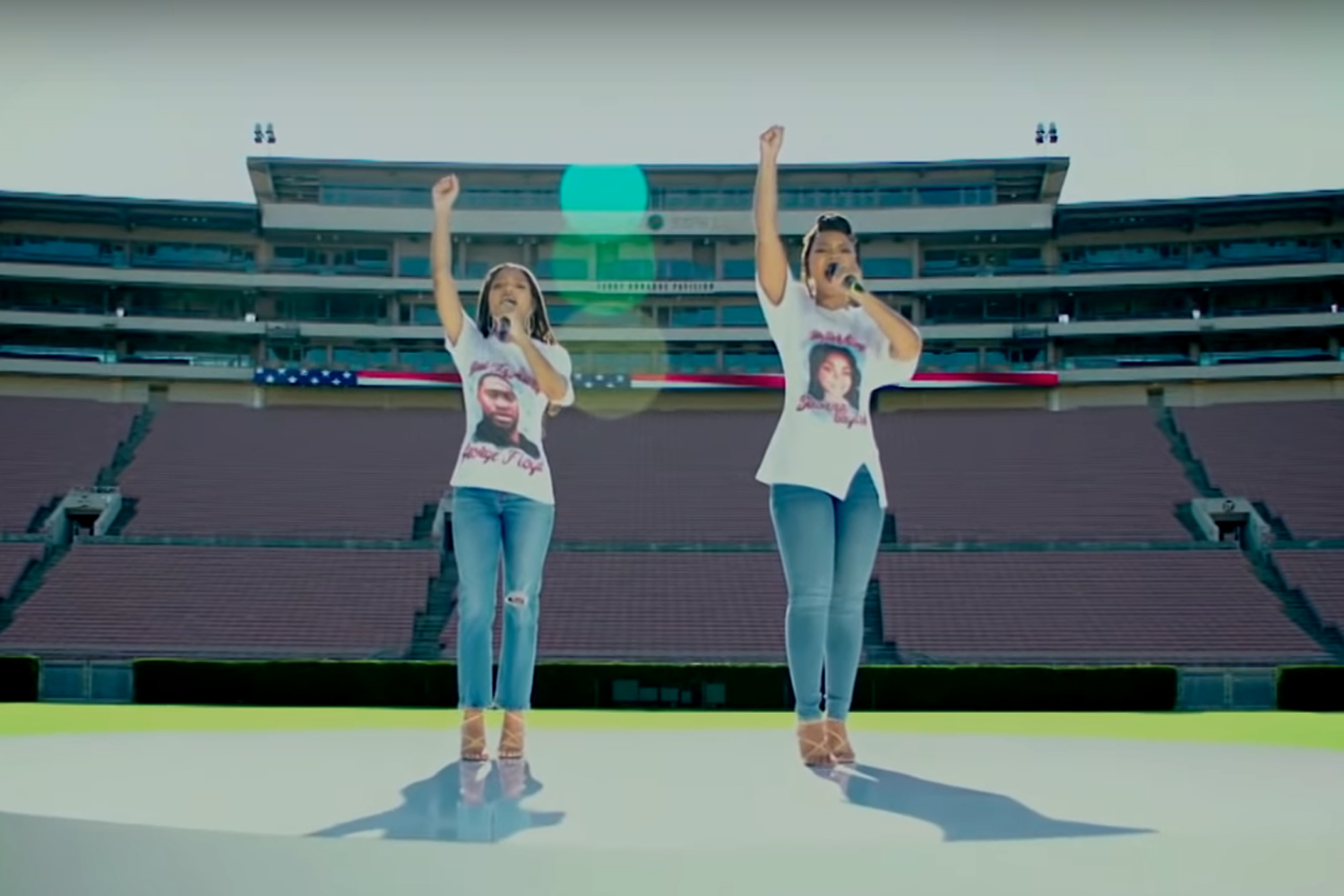 Chloe x Halle perform National Anthem ahead of 2020 NFL Kickoff Game