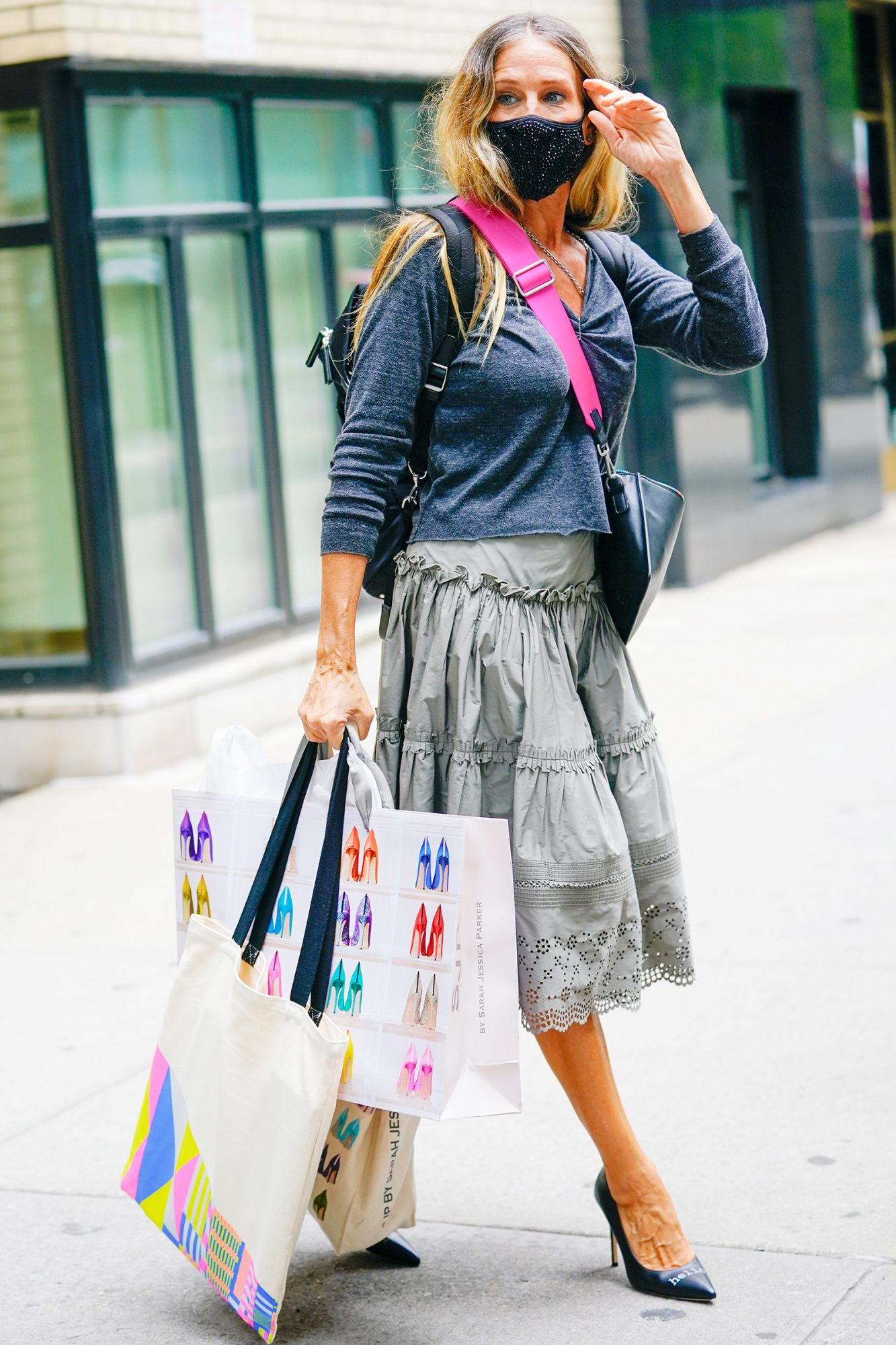 Sarah Jessica Parker departs her shoe store in Midtown on September 10, 2020 in New York City