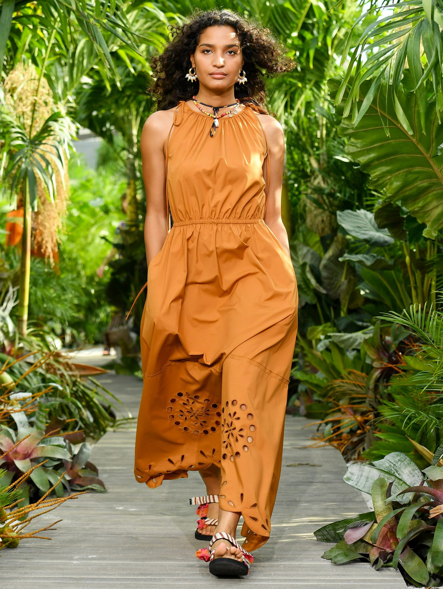 Indya Moore walks the runway for Jason Wu - September 2020 during New York Fashion Week: The Shows at Spring Studios Terrace on September 13, 2020