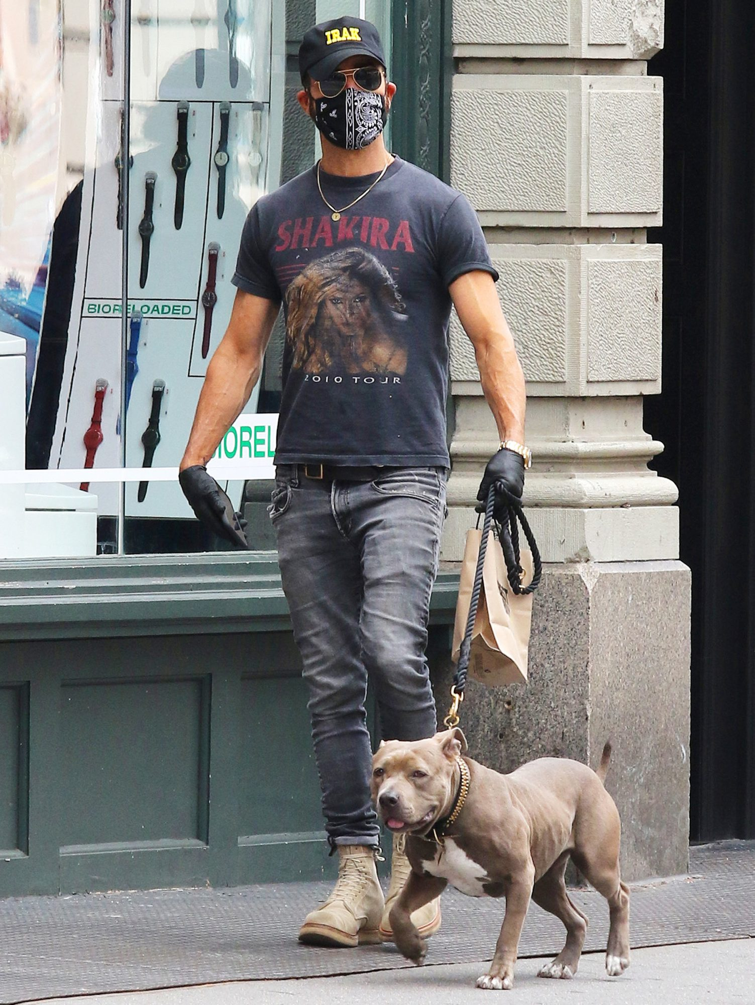 Justin Theroux is a Shakira fan while walking his dog Kuma in NYC