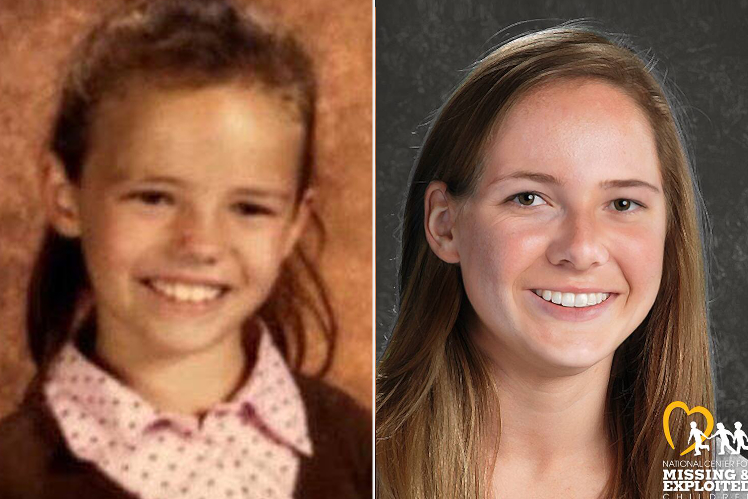 Kaya Centeno at age 7 (left) and what she would look like at 18 in a digitally enhanced image