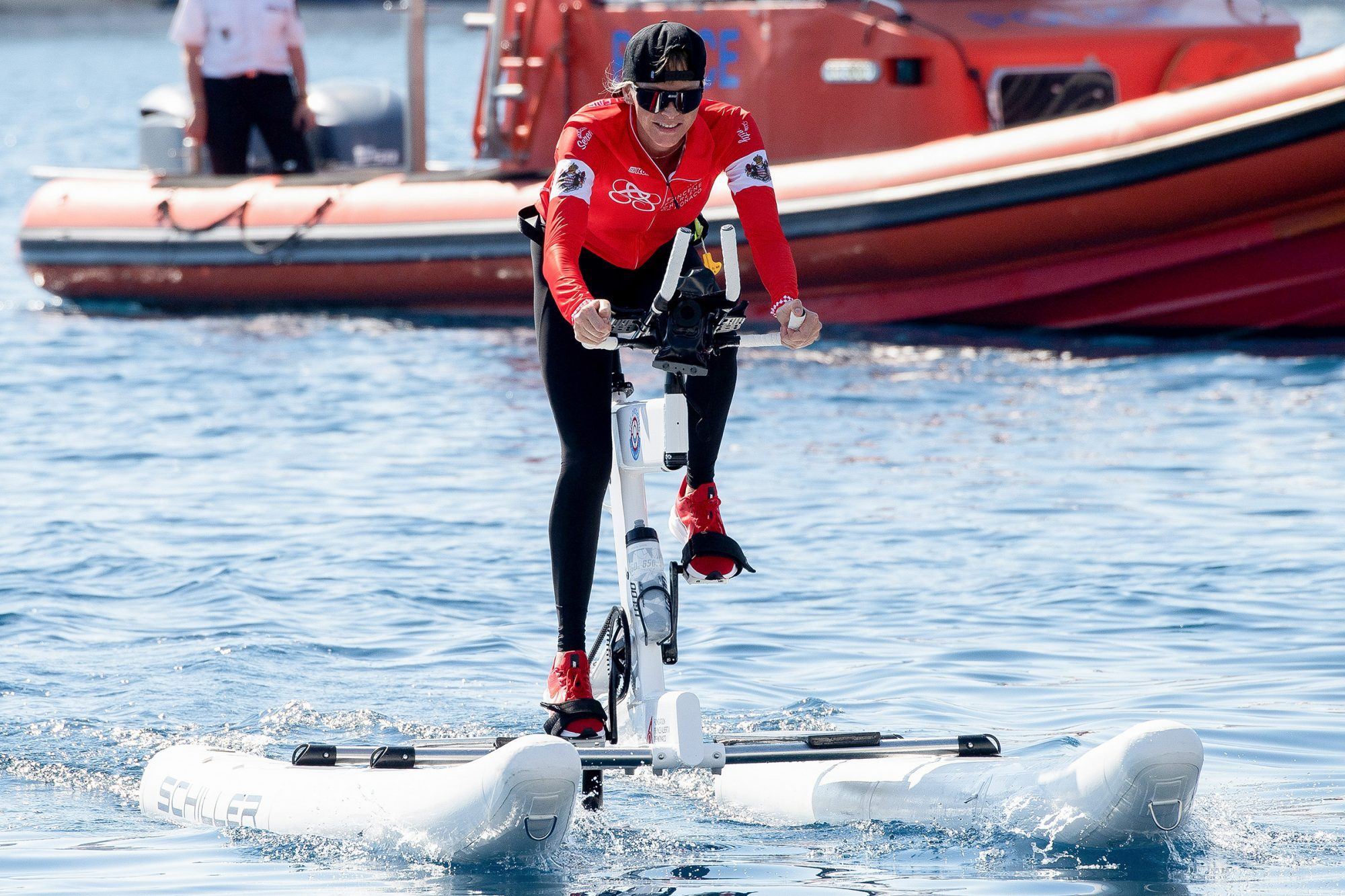 Princess Charlene of Monaco as she arrives after winning The Crossing Calvi Monaco Water Bike Challenge on September 13, 2020 in Monaco