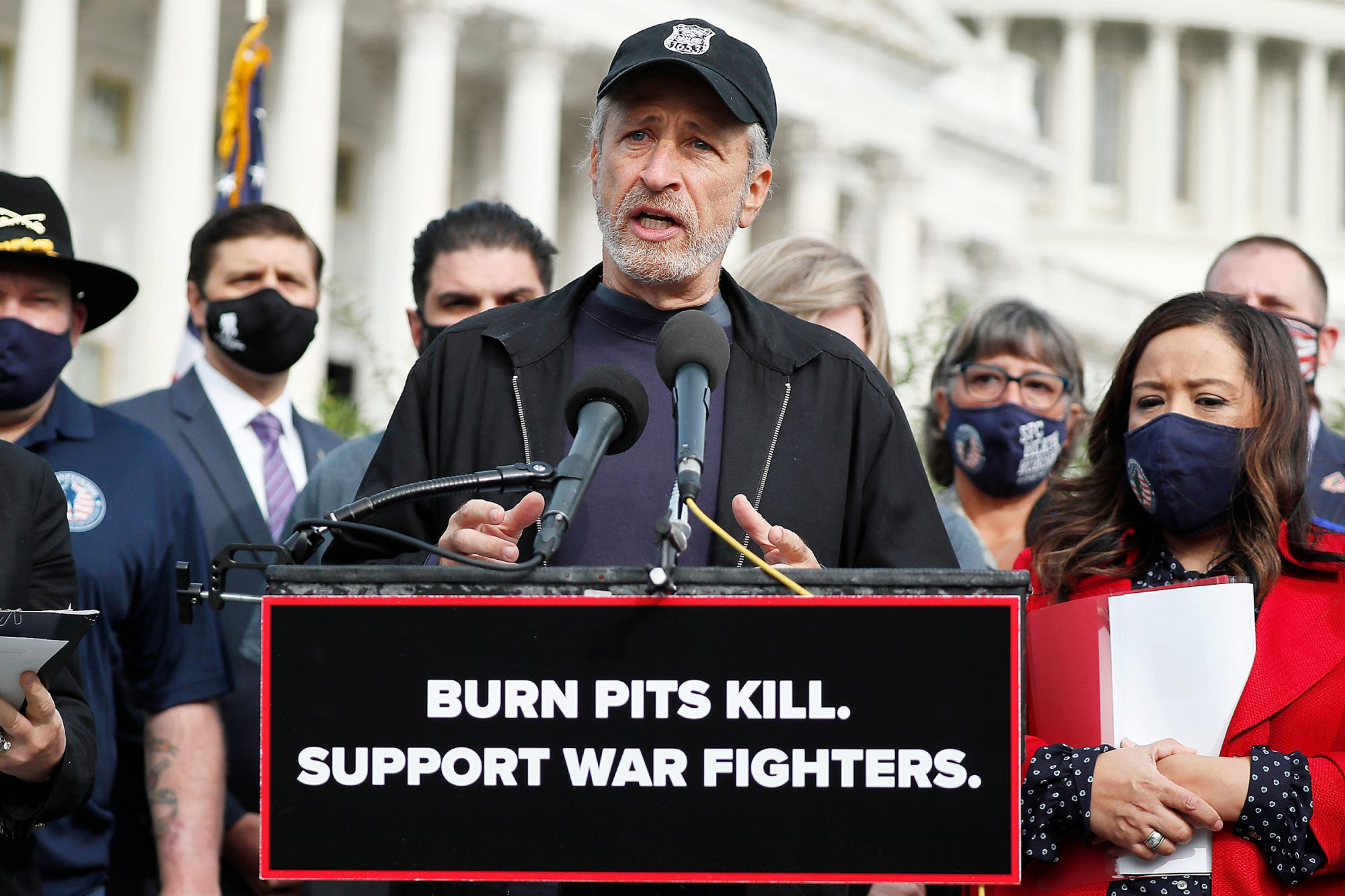 Jon Stewart Joins Members Of Congress For Press Conference On New Legislation Supporting Care For Veterans