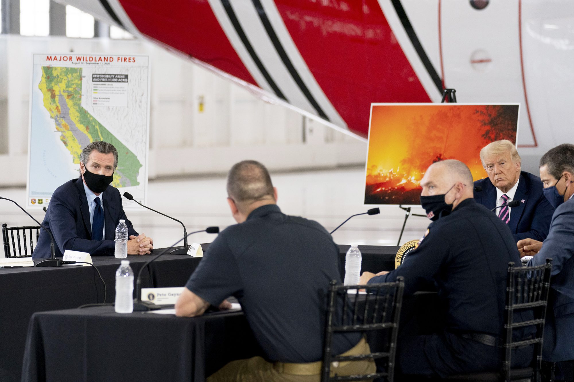 President Donald Trump participates in a briefing on wildfires with Calif. Gov. Gavin Newsom