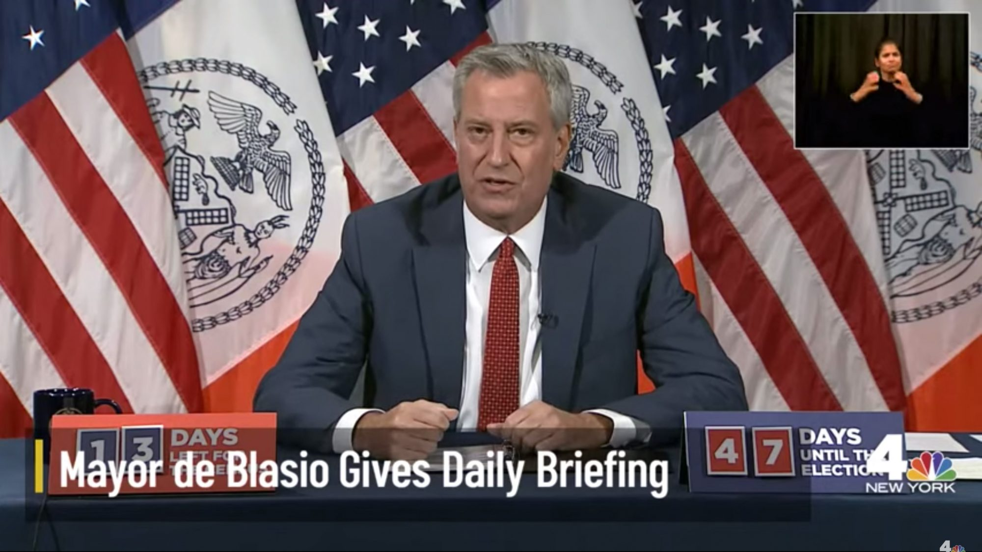 NYC Mayor De Blasio Holds Daily Briefing