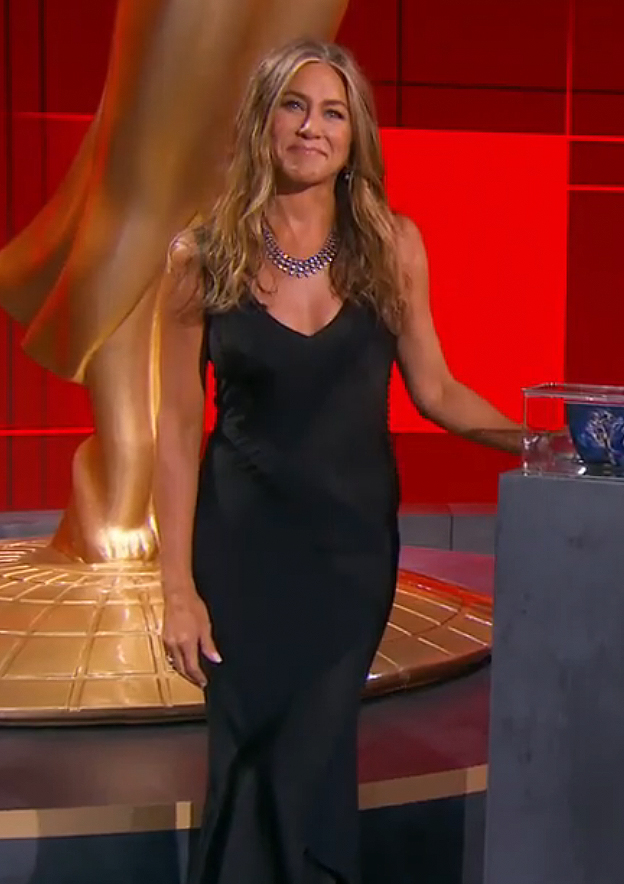 Jennifer Aniston Wears Sexy Black Gown And Major Diamonds To The 2020 Emmys People Com