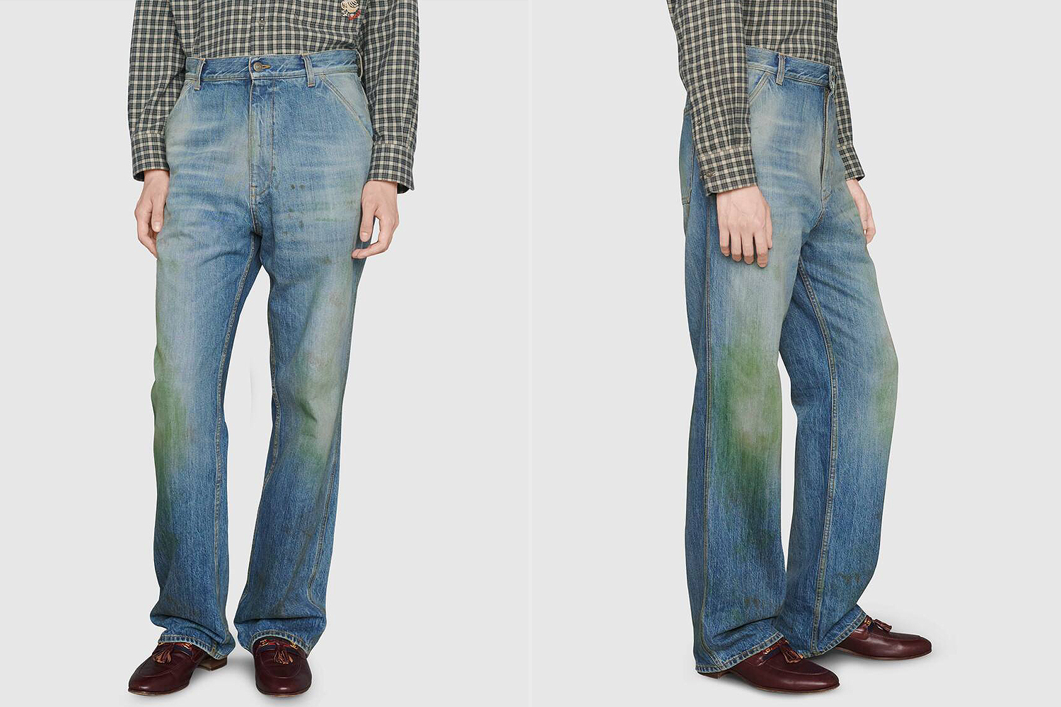 Gucci grass stain jeans