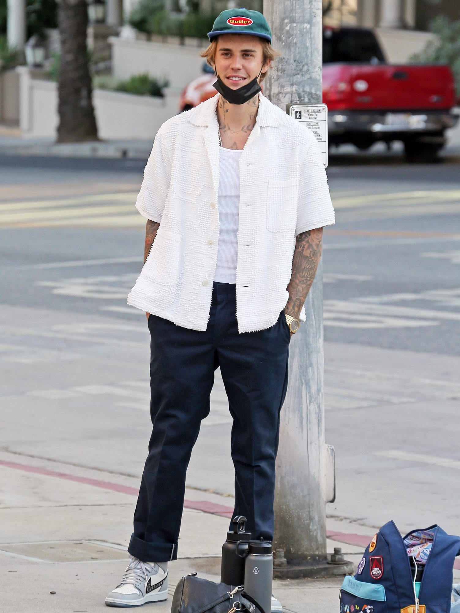 Justin Bieber shooting video clip for his album at a fire department in Los Angeles
