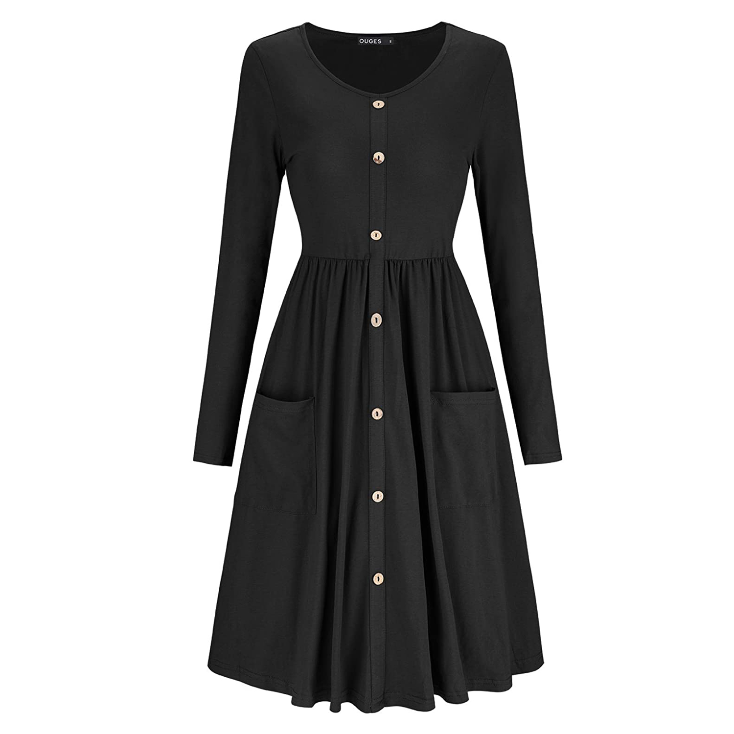 OUGES Women's V Neck Button Down Skater Dress with Pockets