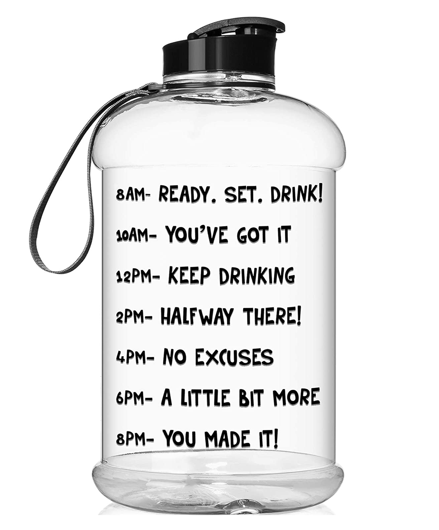 HydroMATE Half Gallon 64 oz Motivational Water Bottle with Time Marker