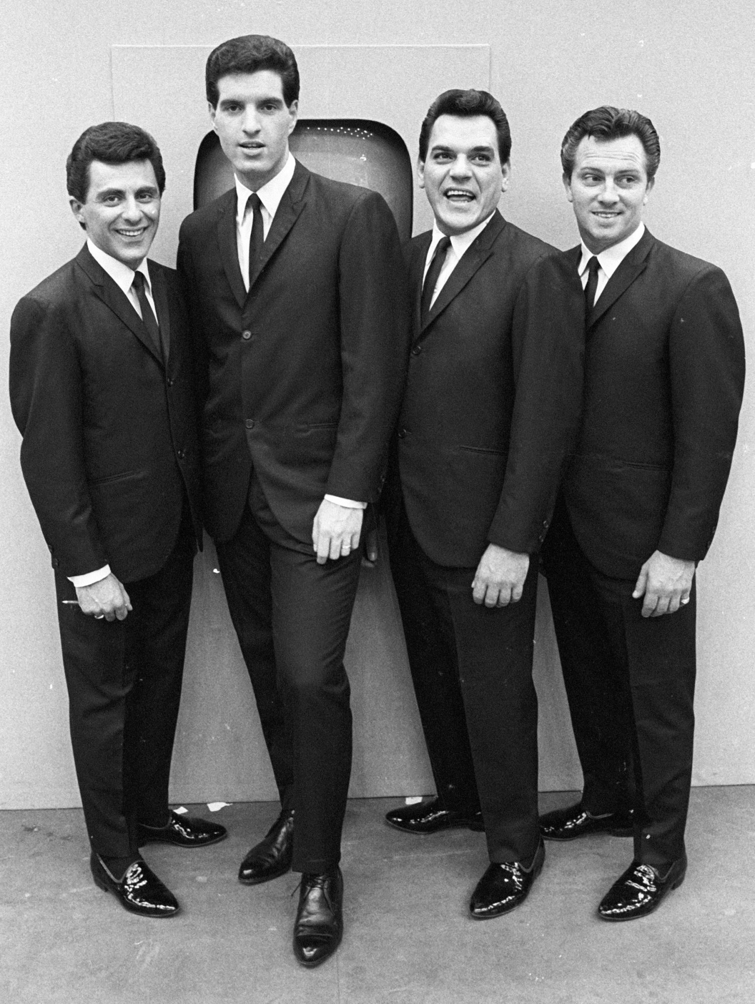"""Frankie Valli, Bob Gaudio, Nick Massi and Tommy DeVito of the doo wop group """"The Four Seasons"""""""