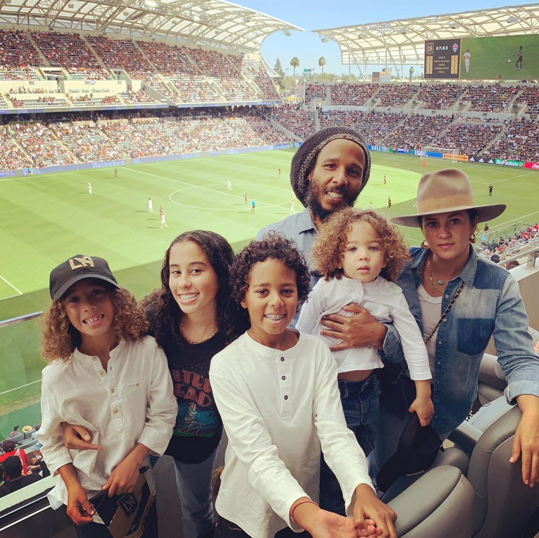 Ziggy Marley and family