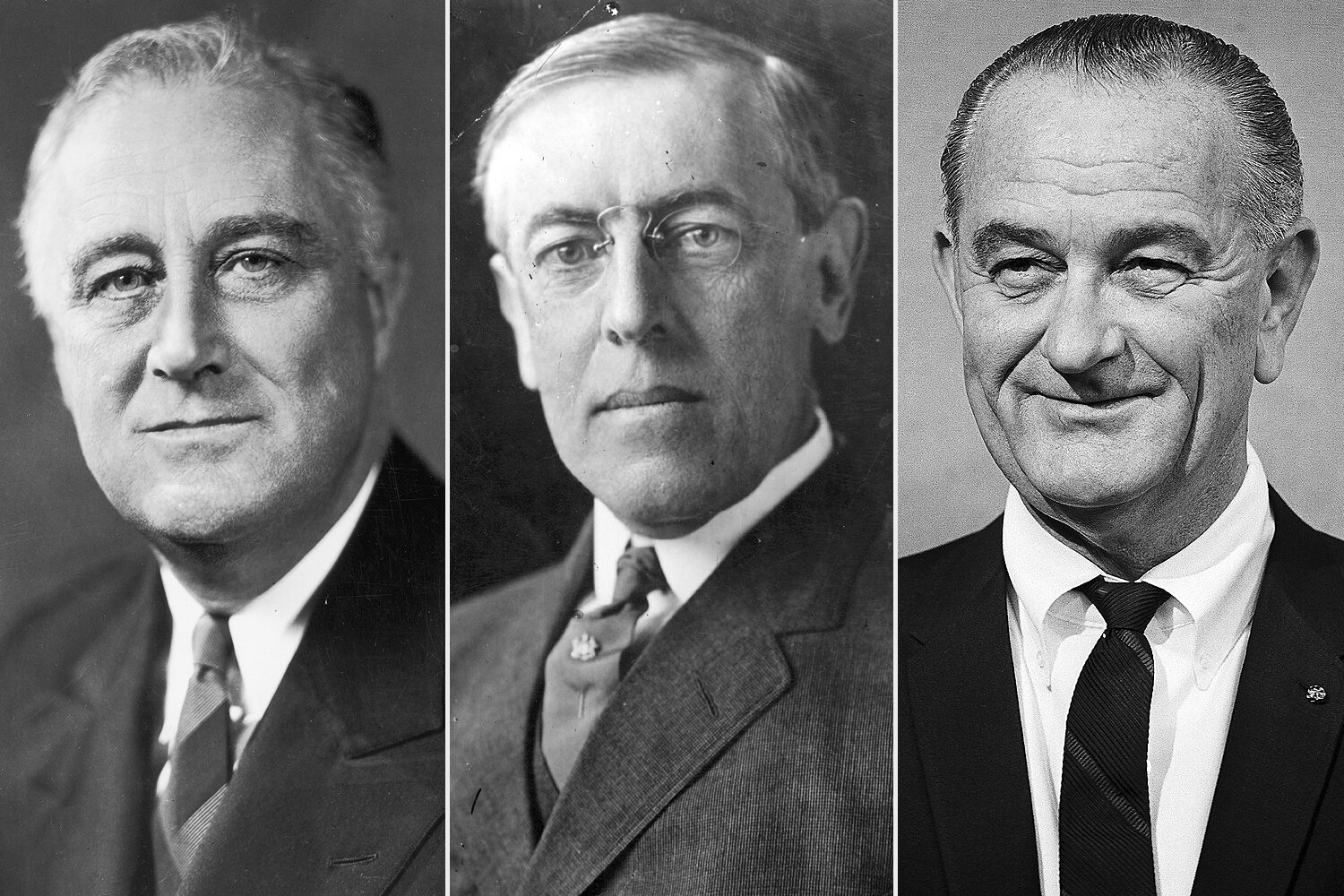 Franklin Delano Roosevelt, Woodrow Wilson, Lyndon B. Johnson