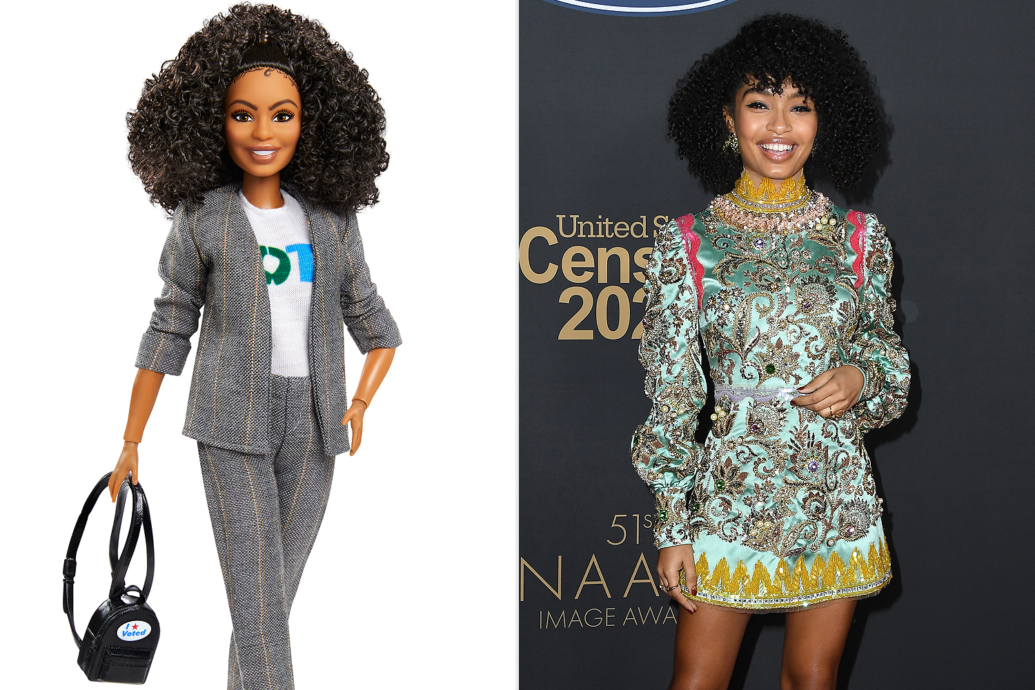 "Yara Shahidi Barbie®️ Doll | Amazon.com | $29.99 The Yara Shahidi Barbie®️ Doll is fully posable and made in the actress, model, and activist's likeness. She is shown in her ""Vote"" shirt, a smart gray suit, and finishes her look with an ""I Voted"" Sticker. Photos courtesy of Mattel"
