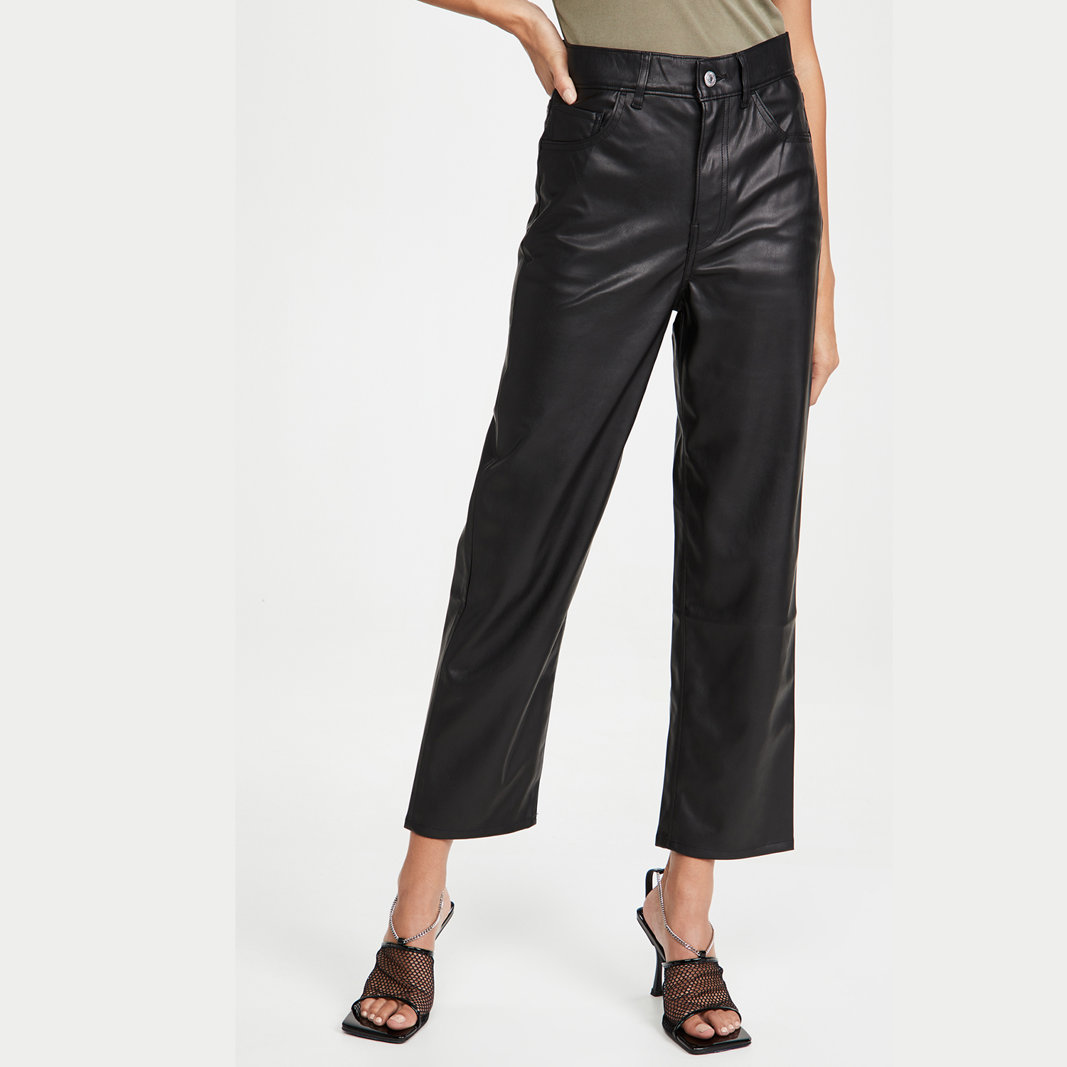 Faux Leather Rib Cage Straight Pants