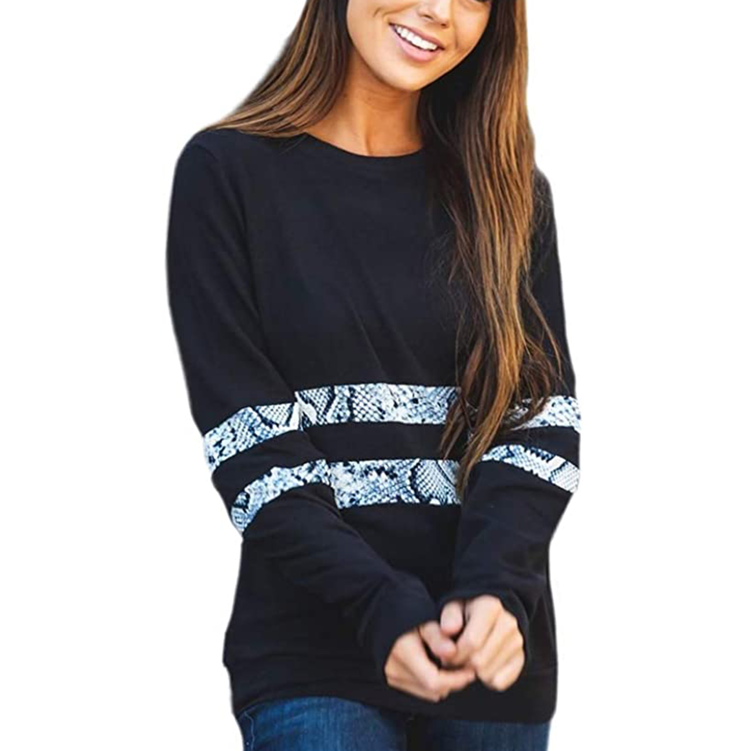 Tickled Teal Women's Long Sleeve Leopard Knit Casual Loose Sweater Outerwear