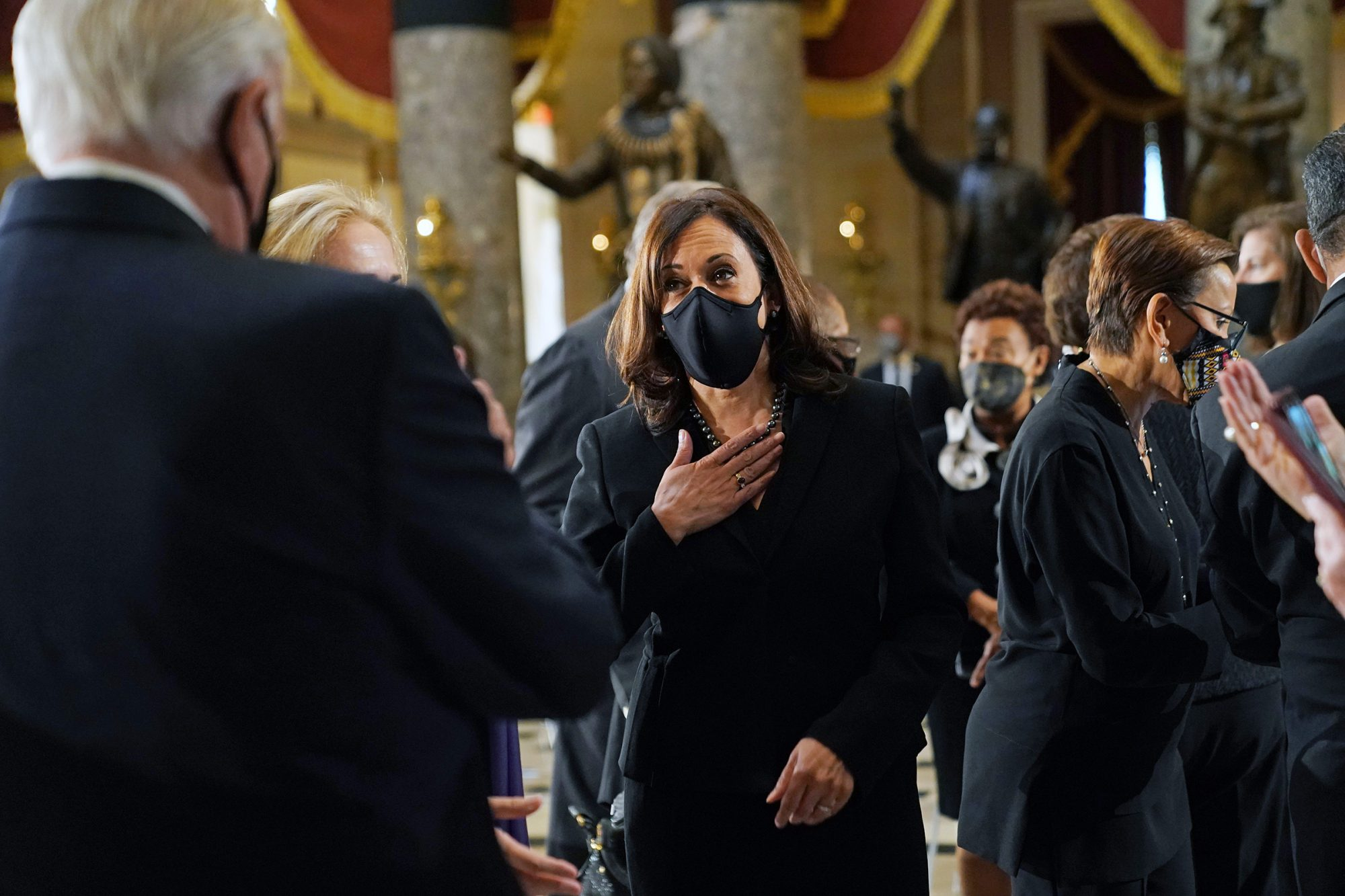 Kamala Harris (Democrat of California) arrives for a ceremony before Justice Ruth Bader Ginsburg lies in state in Statuary Hall of the Capitol in Washington, DC