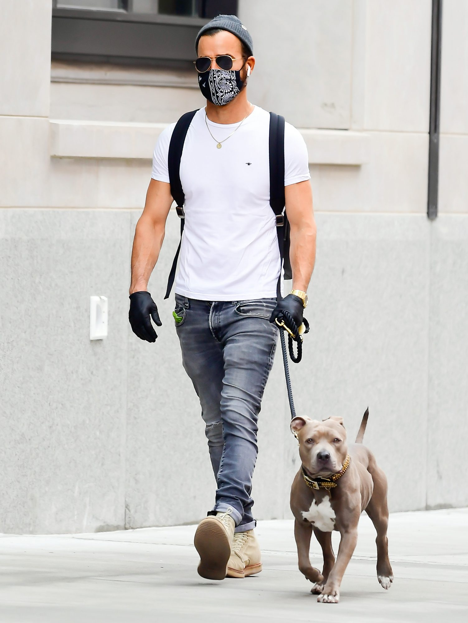 Justin Theroux is seen walking is dog in soho on September 26, 2020 in New York City