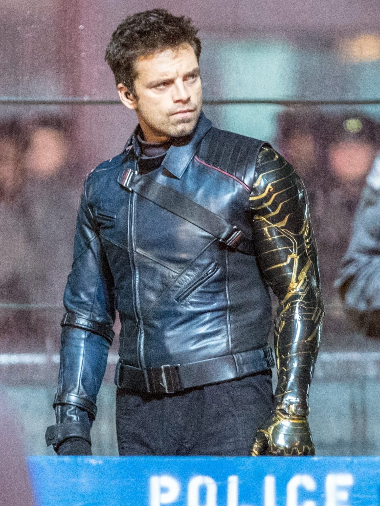 Sebastian Stan films scenes for 'The Falcon and the Winter Soldier'