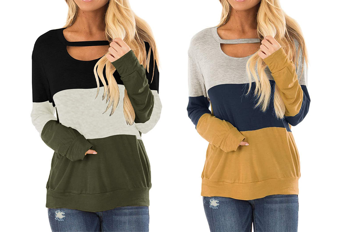 Topstype Women's Fall Color Block Chest Cutout Tunics
