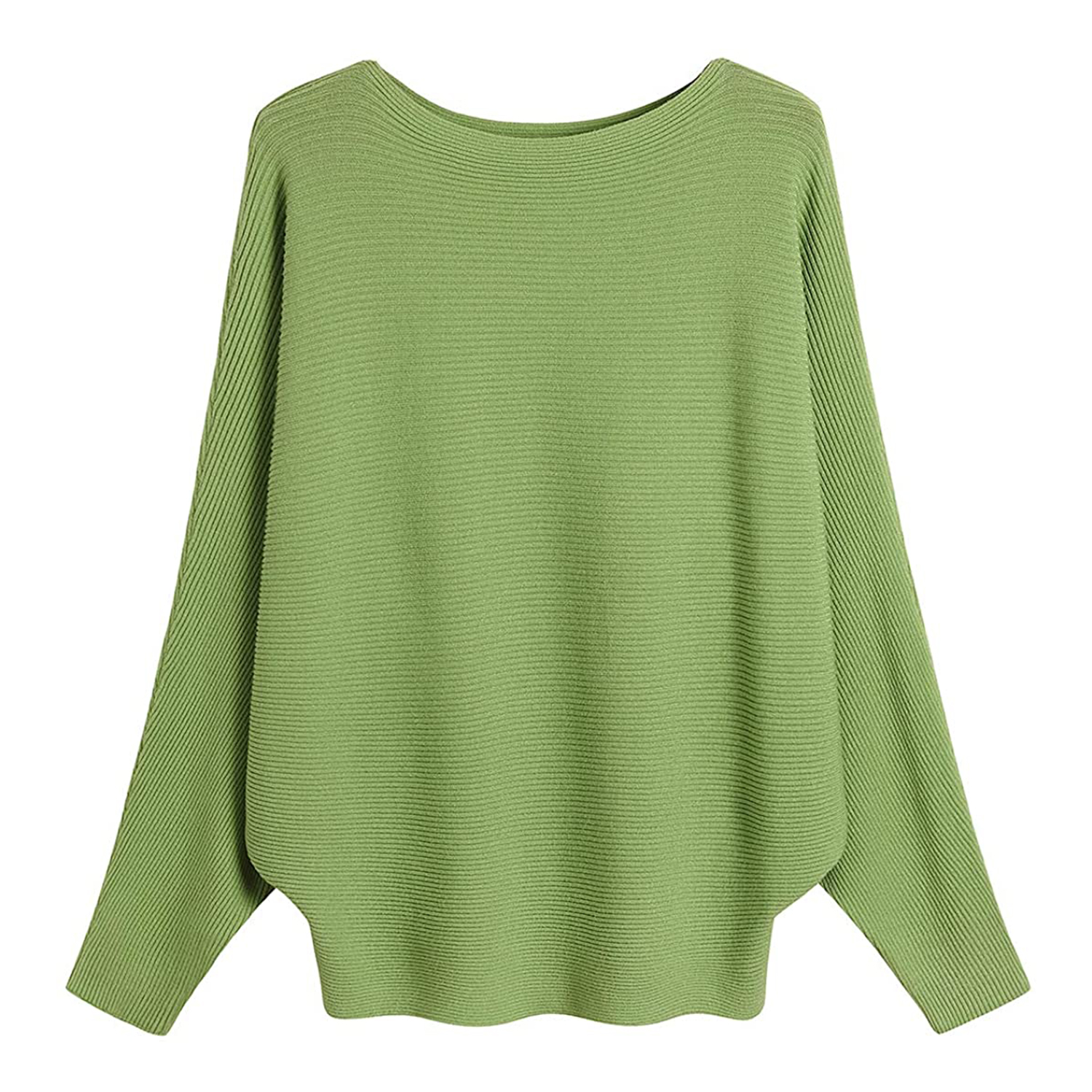 GABERLY Boat Neck Batwing Sleeves Dolman Knitted Sweaters and Pullovers